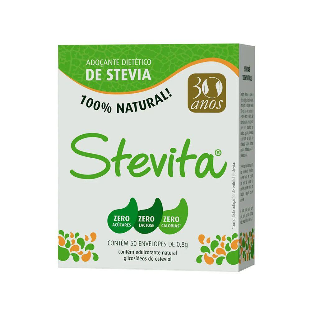 Adoçante Stevia em Pó Stevita 50 Envelopes  - Tudo Low Carb
