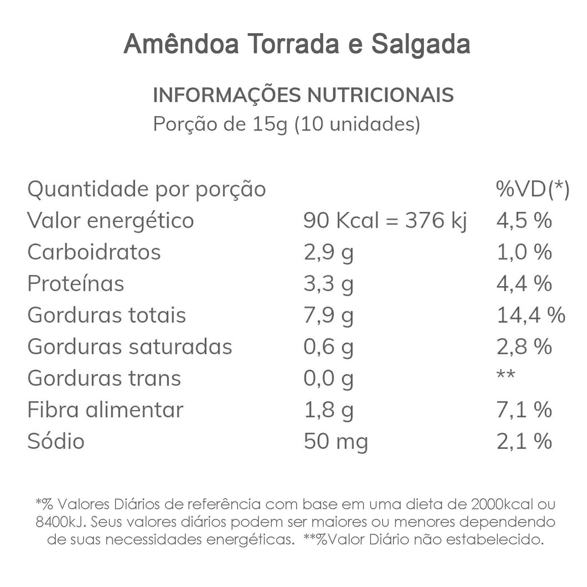 Amêndoa Torrada e Salgada 200g  - TLC Tudo Low Carb
