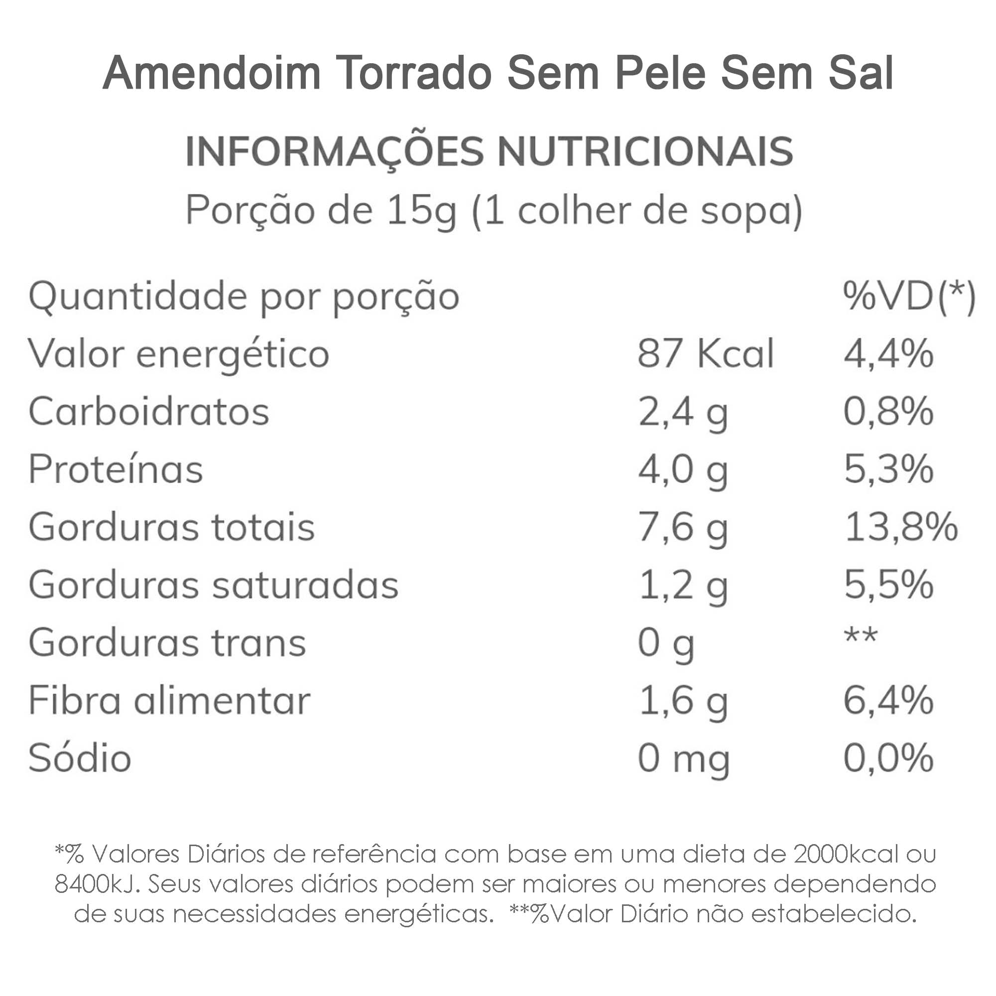 Amendoim Torrado sem Pele e sem Sal 500g  - TLC Tudo Low Carb
