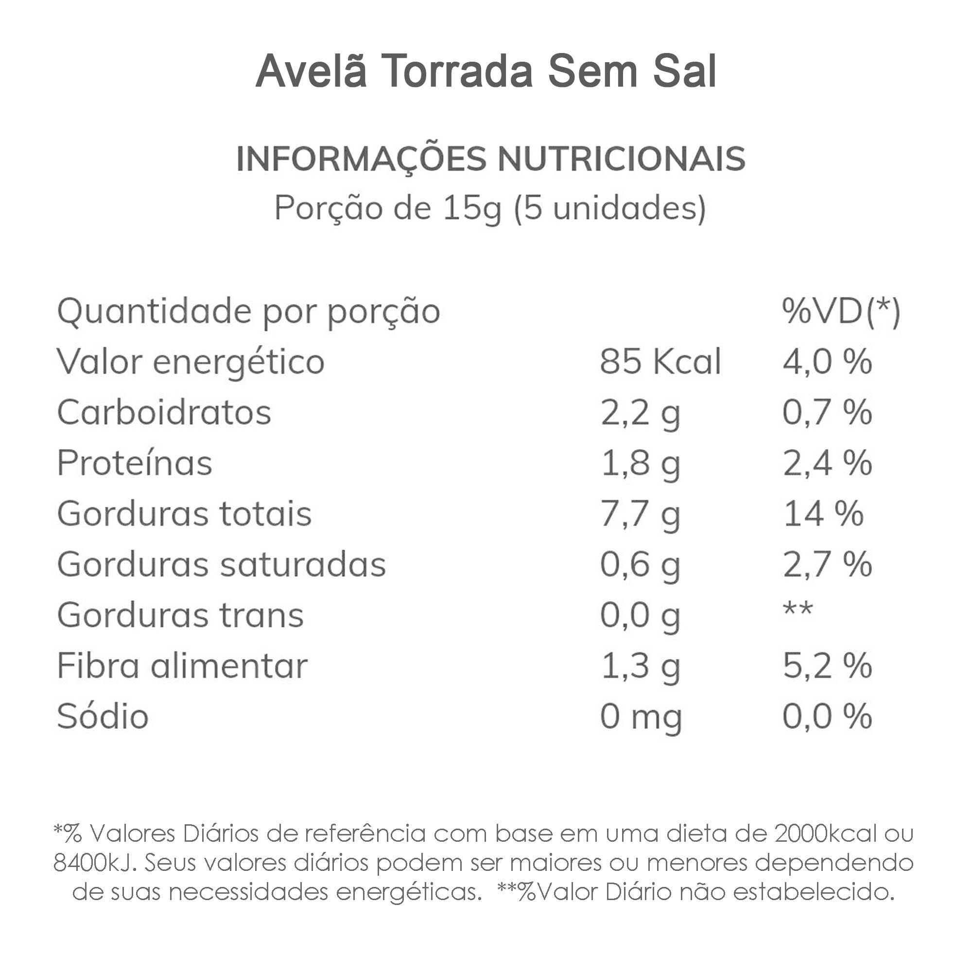 Avelã Torrada sem Sal (sem casca) 500g  - TLC Tudo Low Carb