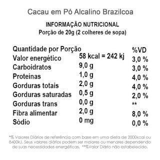 Cacau em Pó Alcalino (100% cacau, sem açúcar) BrazilCoa 200g  - TLC Tudo Low Carb