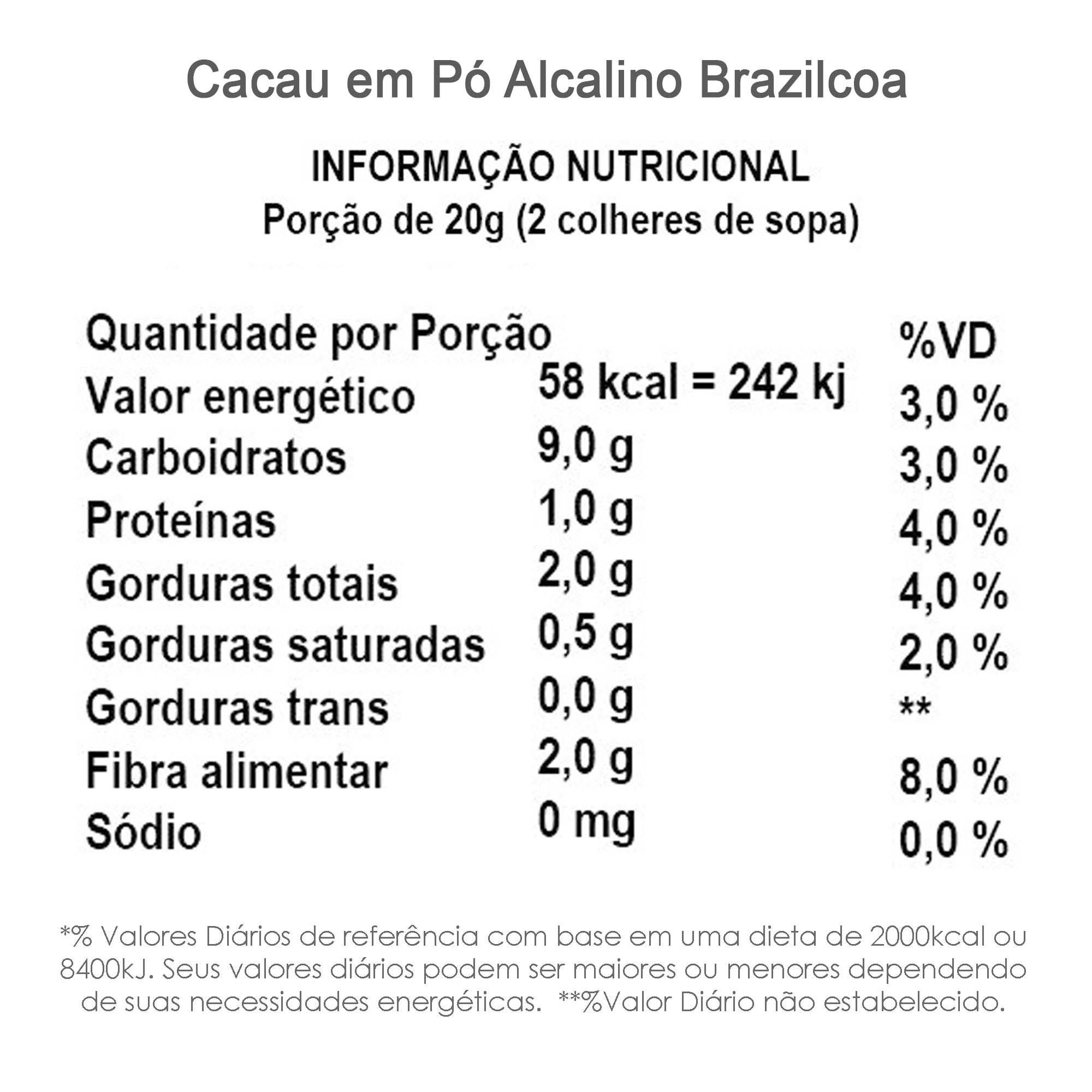 Cacau em Pó Alcalino (100% cacau, sem açúcar) BrazilCoa 500g  - TLC Tudo Low Carb