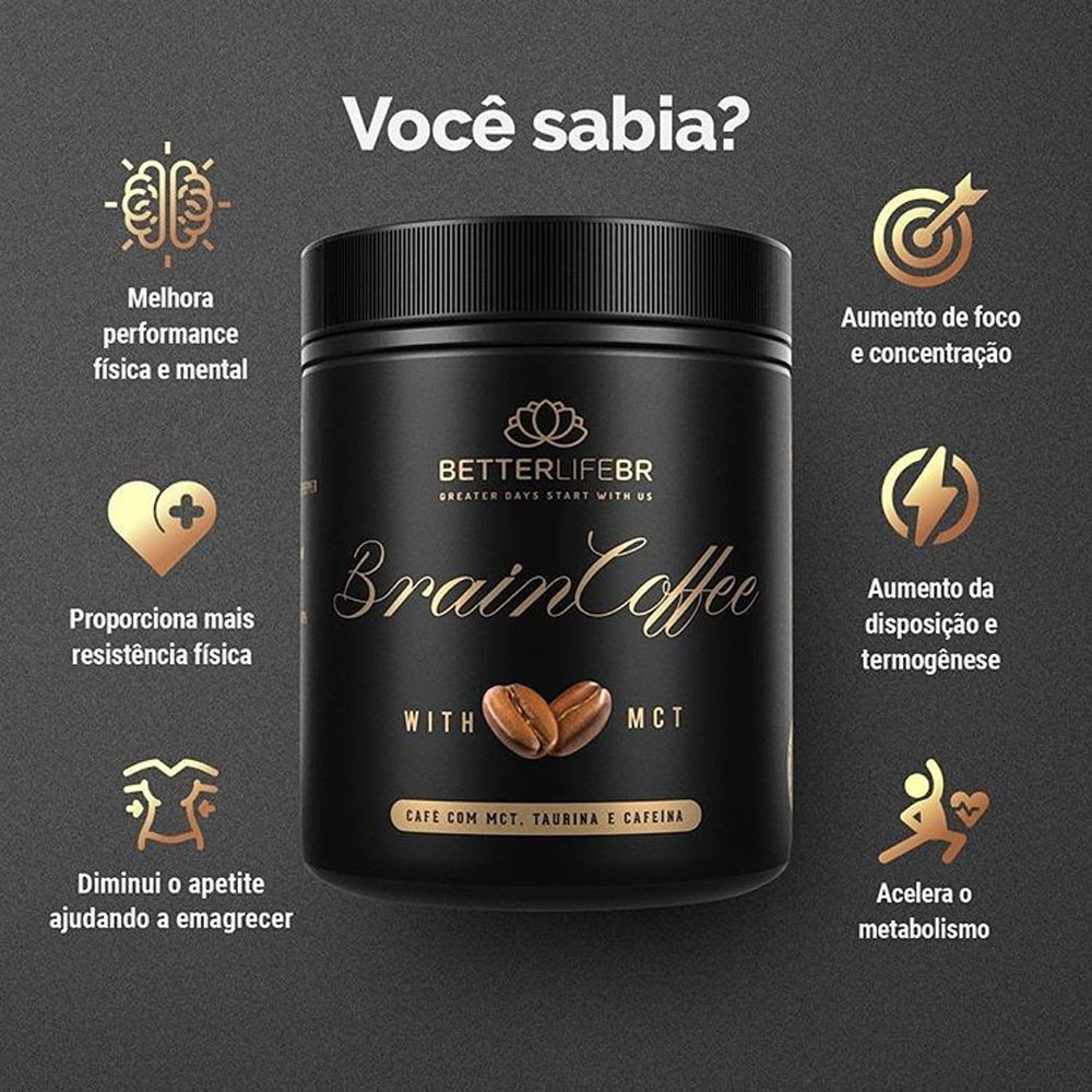Café Termogênico Brain Coffee com MCT BetterLife Sachê 10g  - Tudo Low Carb