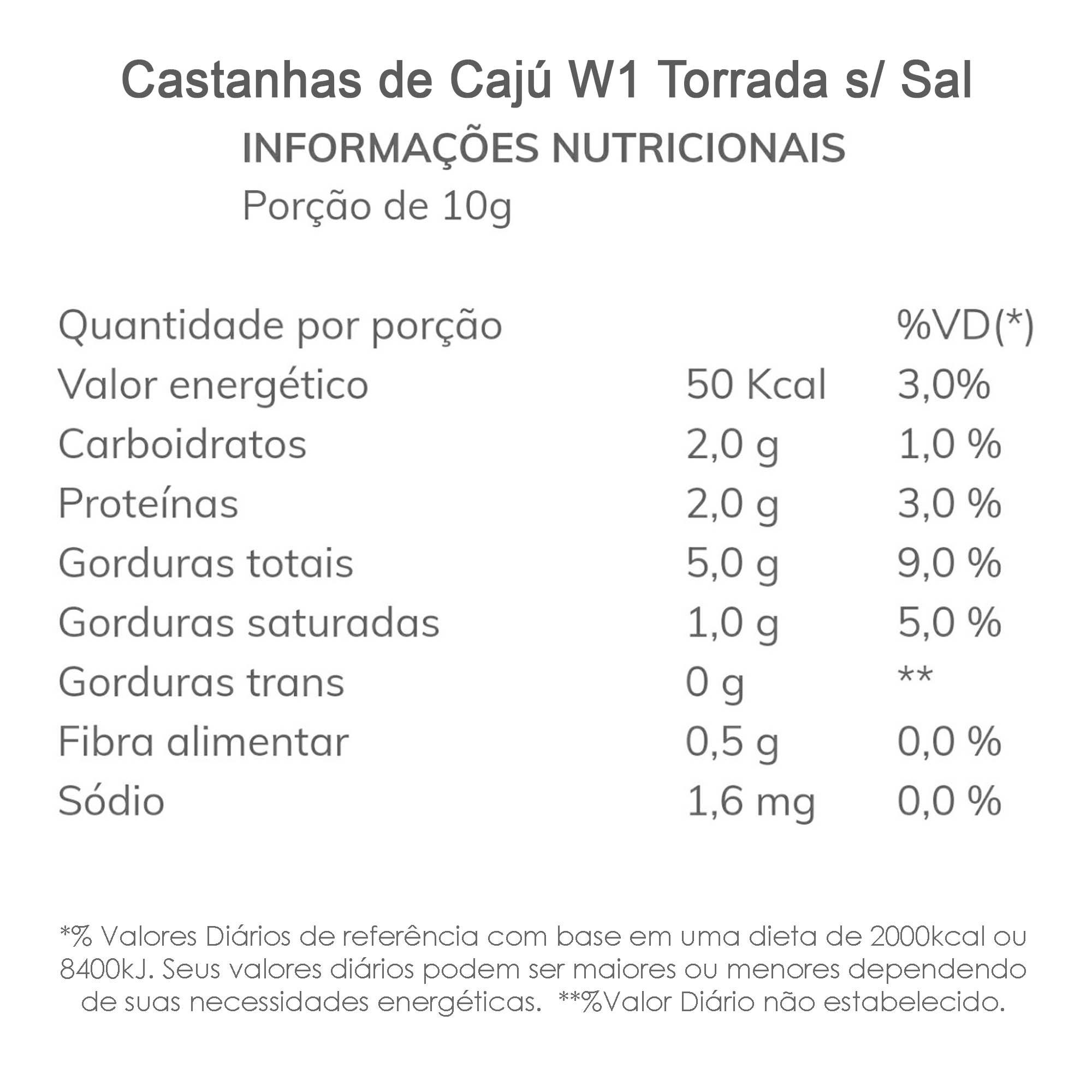 Castanha de Cajú W1 Torrada sem Sal 500g  - TLC Tudo Low Carb