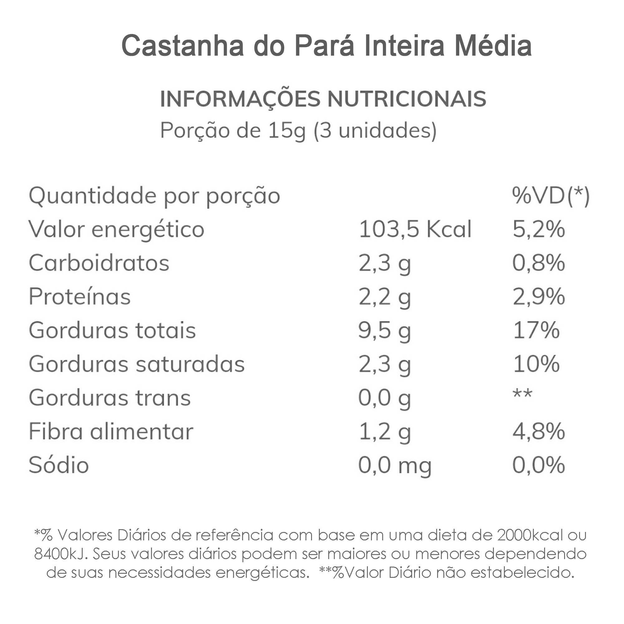 Castanha do Pará Inteira Média 500g  - TLC Tudo Low Carb