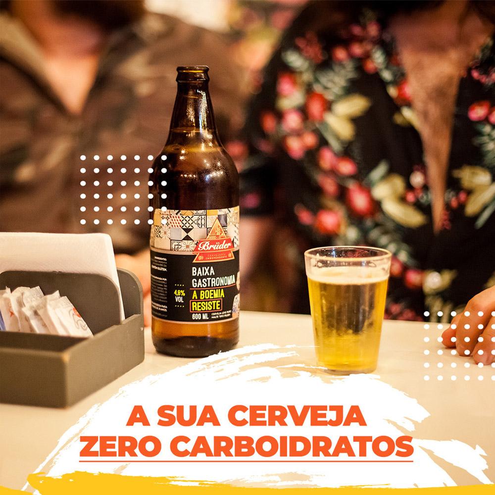 Cerveja Zero Carboidrato Baixa Gastronomia Bruder 600ml  - TLC Tudo Low Carb