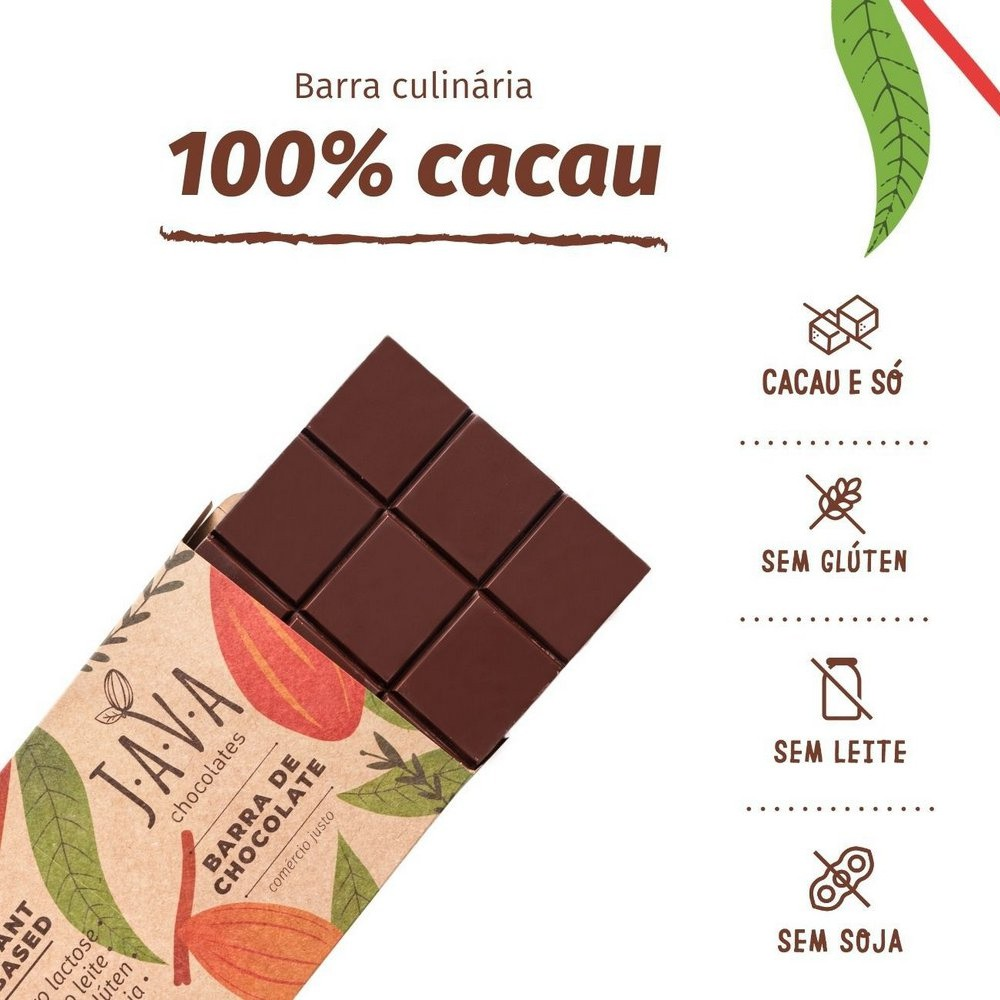 Chocolate 100% Cacau Brut Barra Culinária Java Chocolates 1 Kg  - Tudo Low Carb