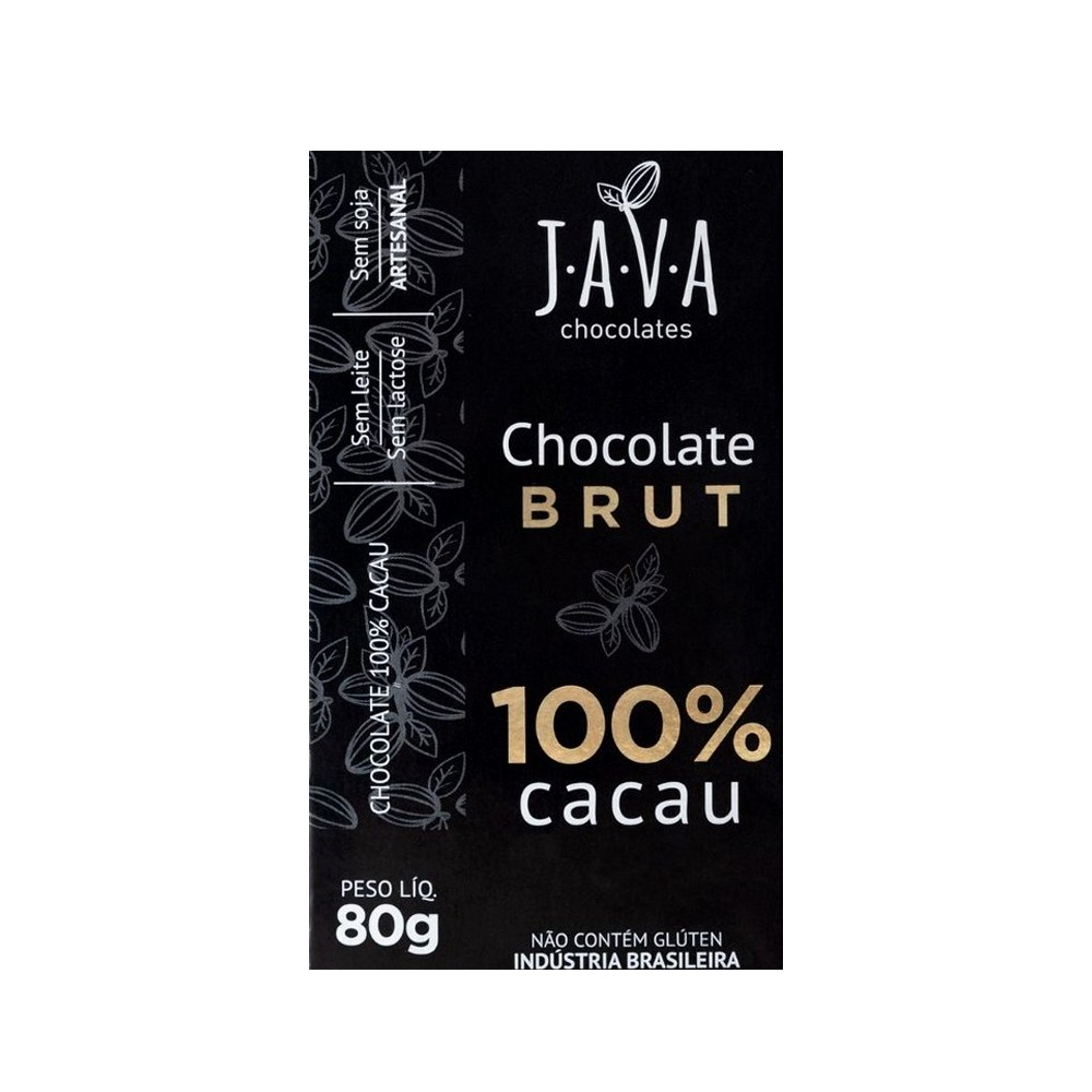 Chocolate 100% Cacau Brut Java Chocolates 80g  - Tudo Low Carb
