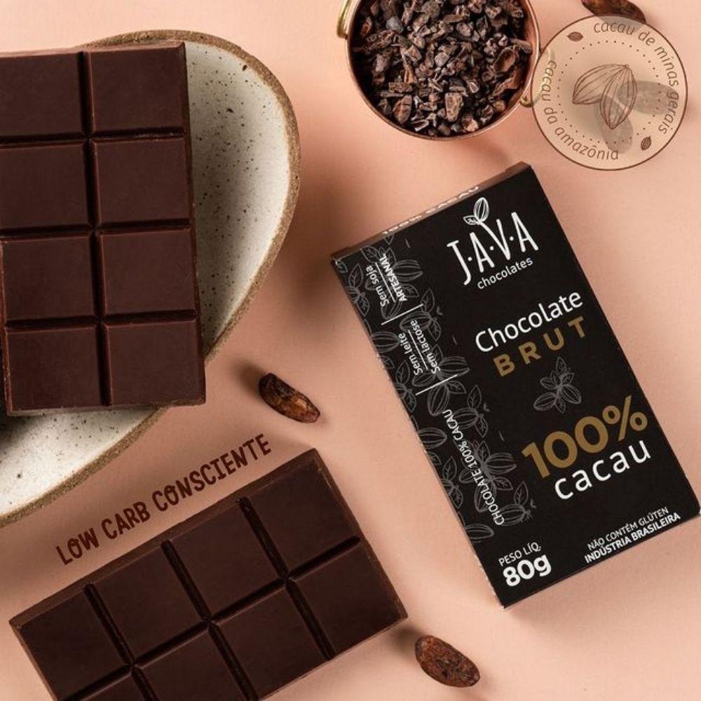 Chocolate 100% Cacau Brut Java Chocolates 80g  - TLC Tudo Low Carb
