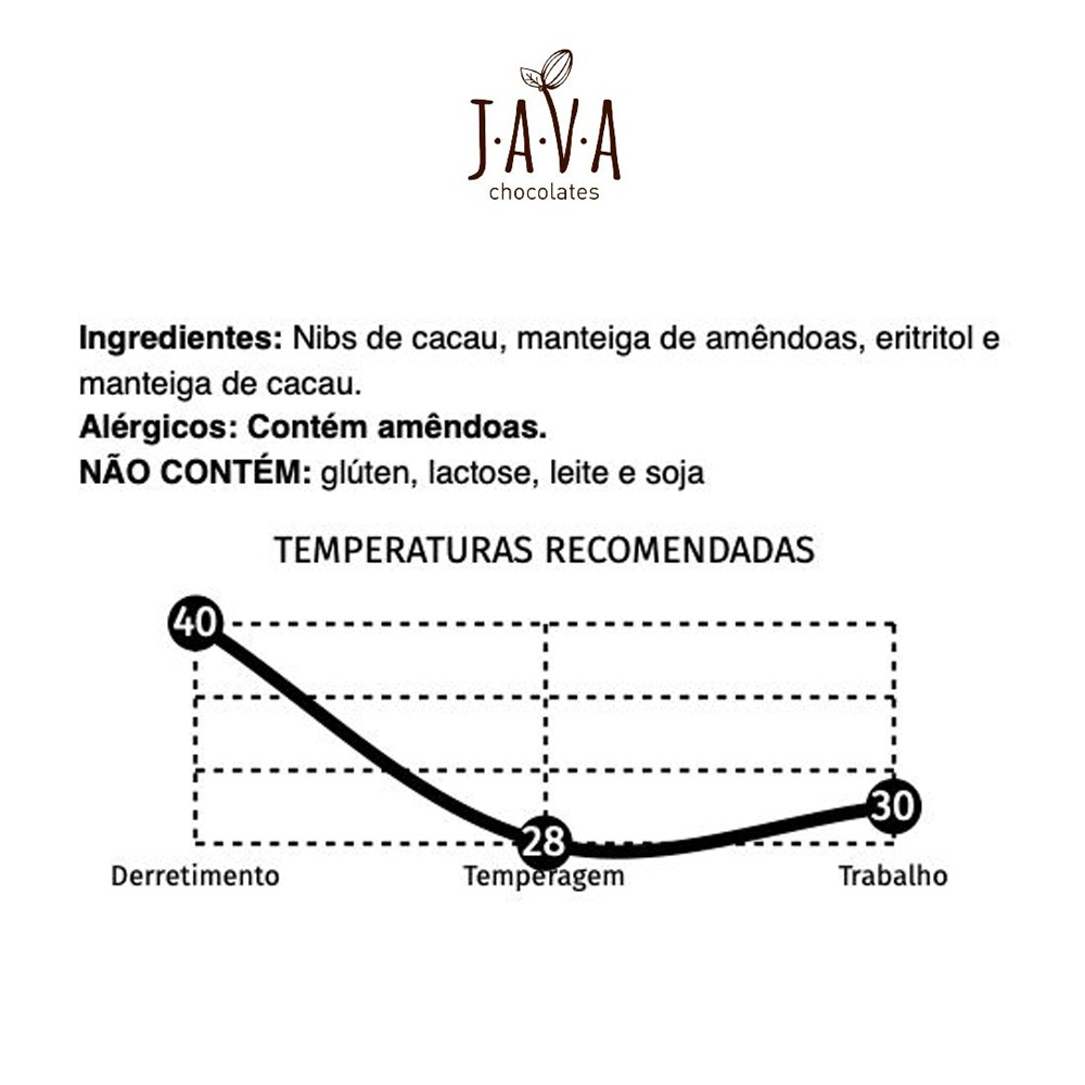 Chocolate 70% Cacau com Eritritol 2 Net Carbs Barra Culinária Java Chocolates 1 Kg  - Tudo Low Carb