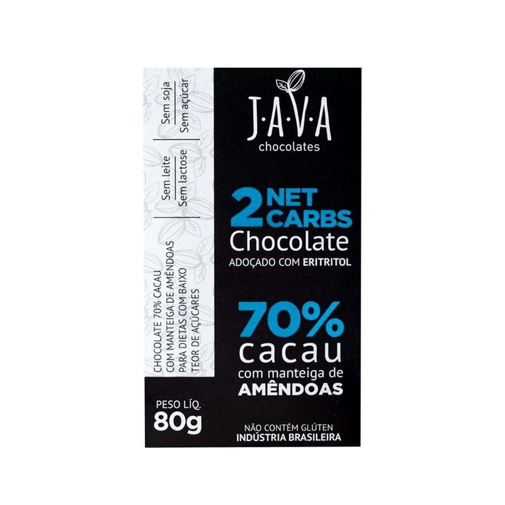 Chocolate 70% Cacau com Eritritol 2 Net Carbs Java Chocolates 80g  - Tudo Low Carb