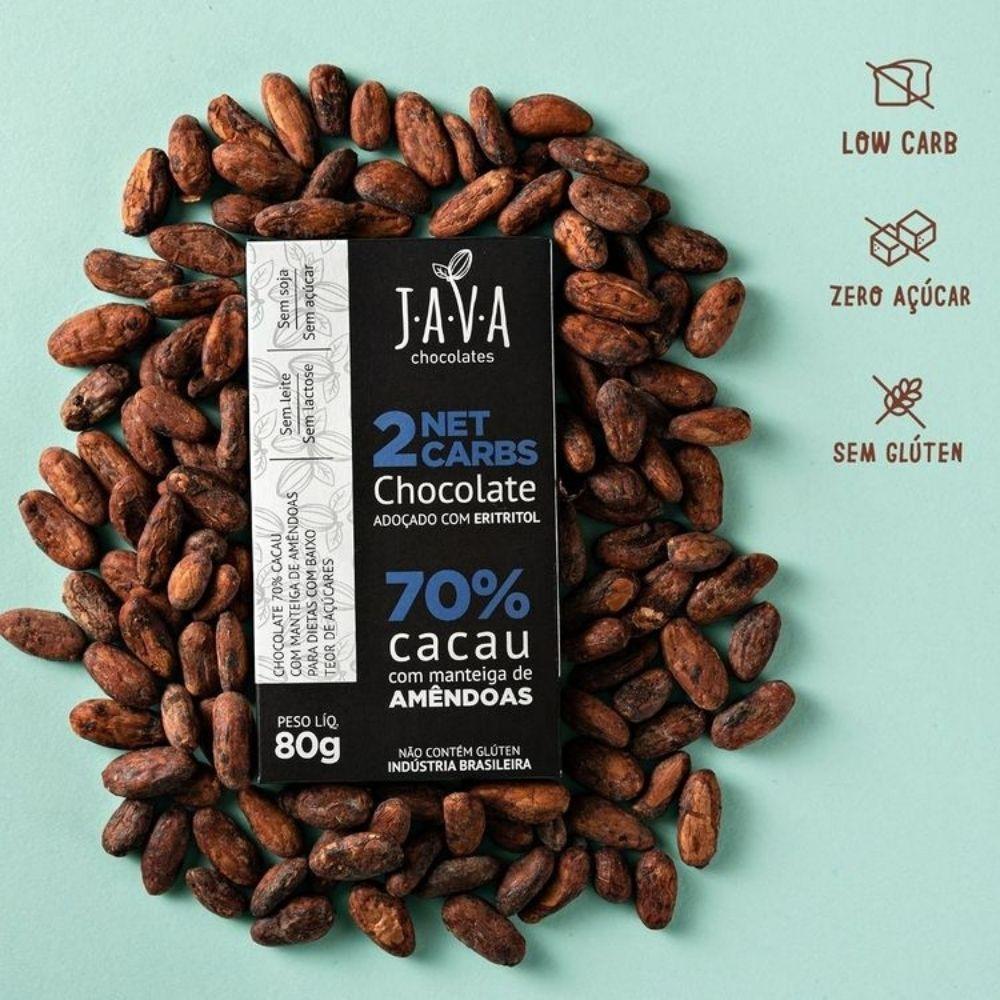 Chocolate 70% Cacau com Eritritol 2 Net Carbs Java Chocolates 80g  - TLC Tudo Low Carb