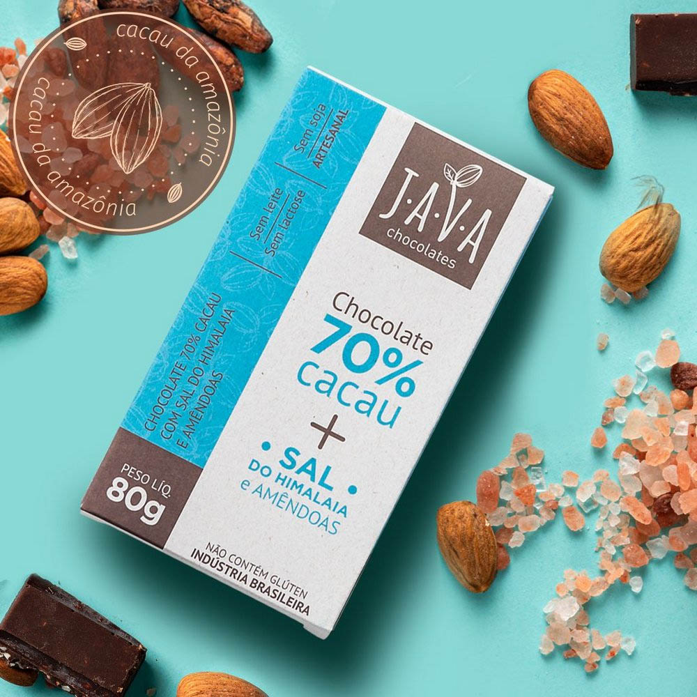 Chocolate 70% Cacau com Sal do Himalaia e Amêndoas Java Chocolates 80g  - Tudo Low Carb