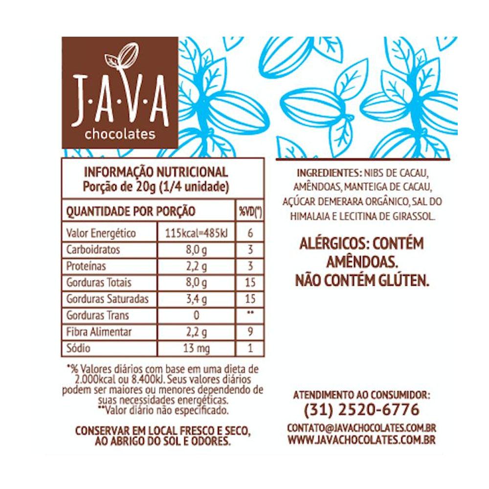 Chocolate 70% Cacau com Sal do Himalaia e Amêndoas Java Chocolates 80g  - TLC Tudo Low Carb