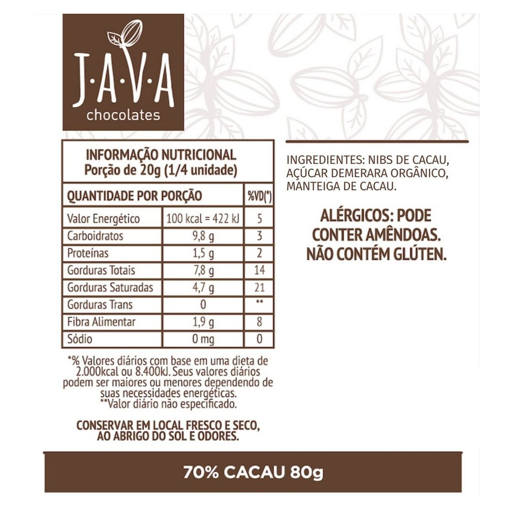 Chocolate 70% Cacau Intenso Java Chocolates 80g - Tudo Low Carb