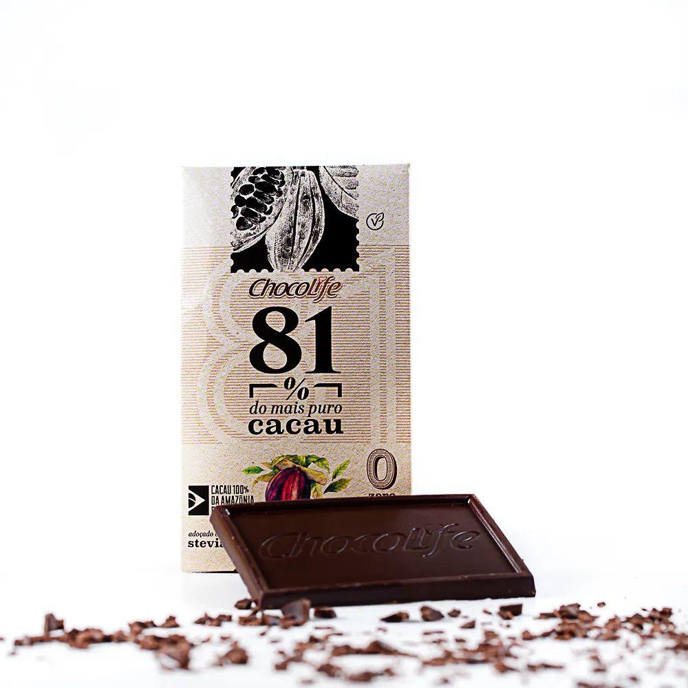 Chocolate 81% Cacau sem açúcar Chocolife 25g  - Tudo Low Carb