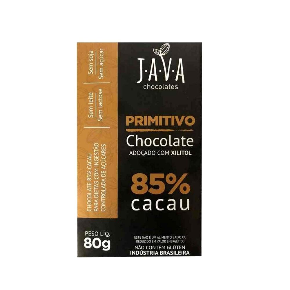 Chocolate 85% Cacau com Xylitol Primitivo Java Chocolates 80g  - Tudo Low Carb
