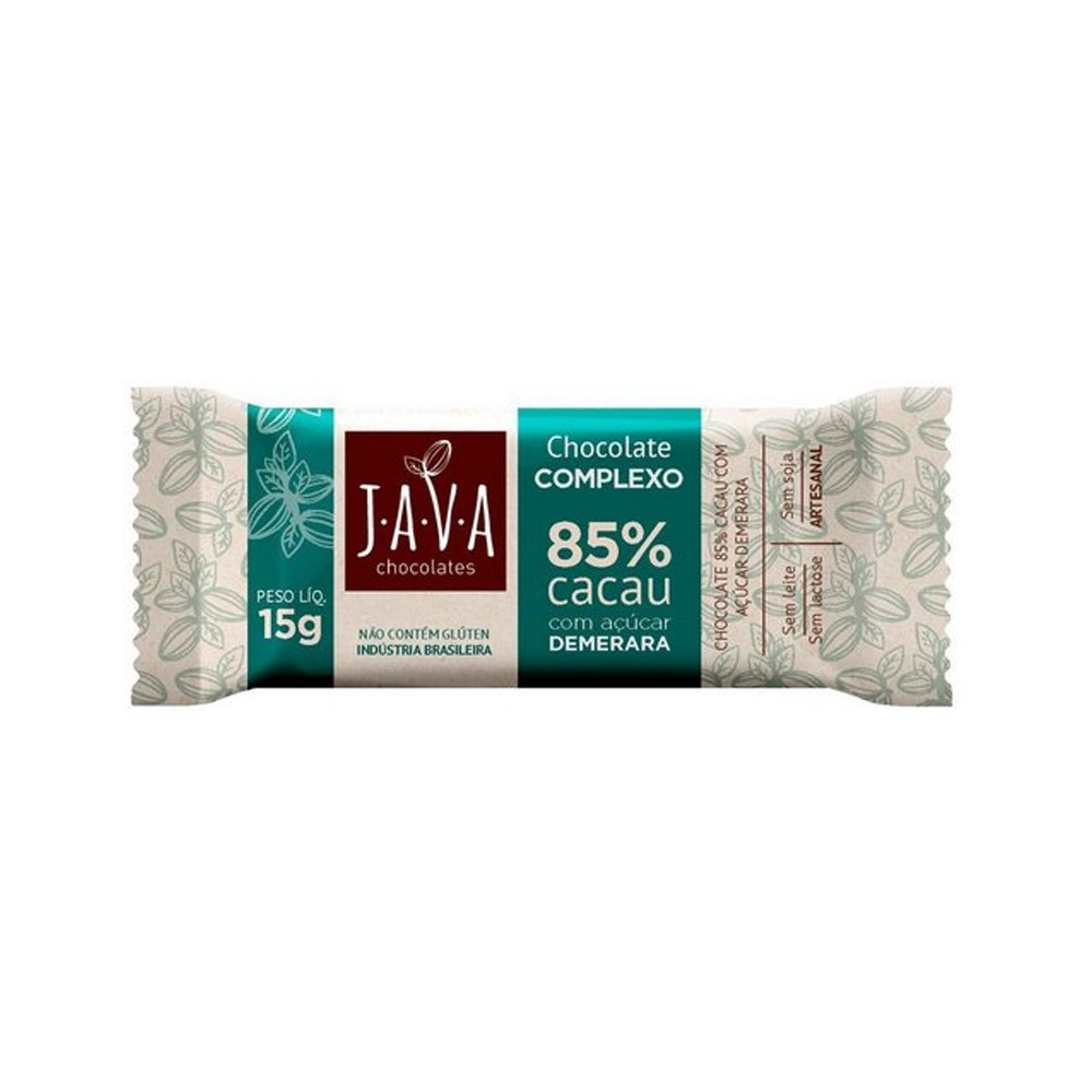 Chocolate 85% Cacau Complexo Java Chocolates 15g  - Tudo Low Carb