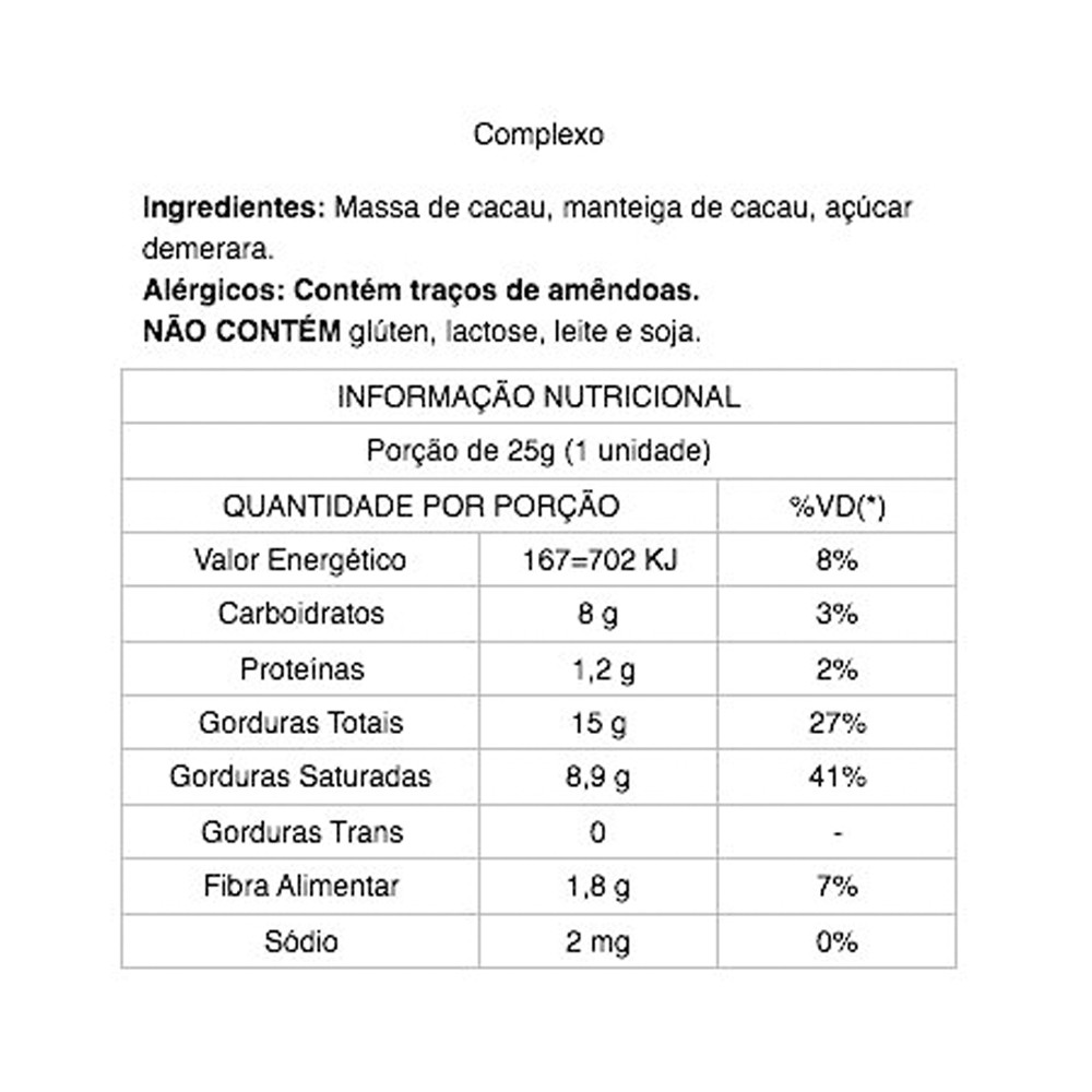 Chocolate 85% Cacau Complexo Java Chocolates 25g  - Tudo Low Carb