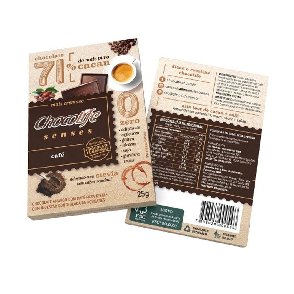 Chocolate com Café 71% Cacau Chocolife Senses 25g  - Tudo Low Carb
