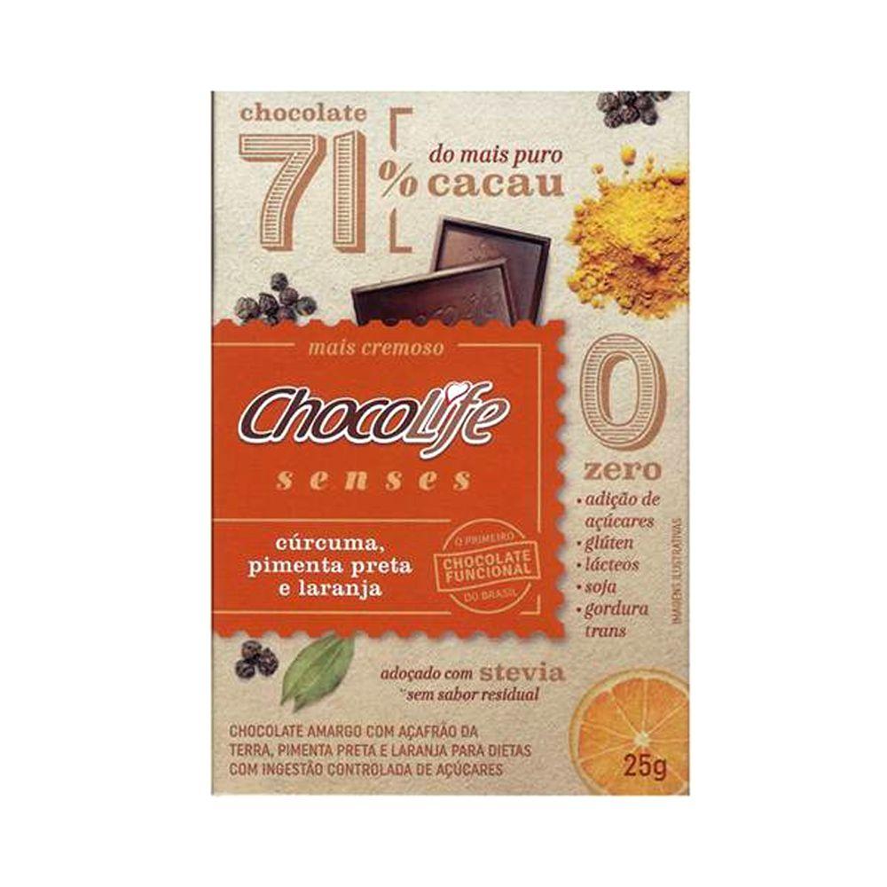 Chocolate com Cúrcuma, Pimenta Preta e Laranja 71% Cacau Chocolife Senses 25g  - Tudo Low Carb