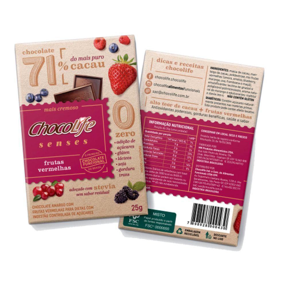 Chocolate com Frutas Vermelhas 71% Cacau Chocolife Senses 25g  - Tudo Low Carb