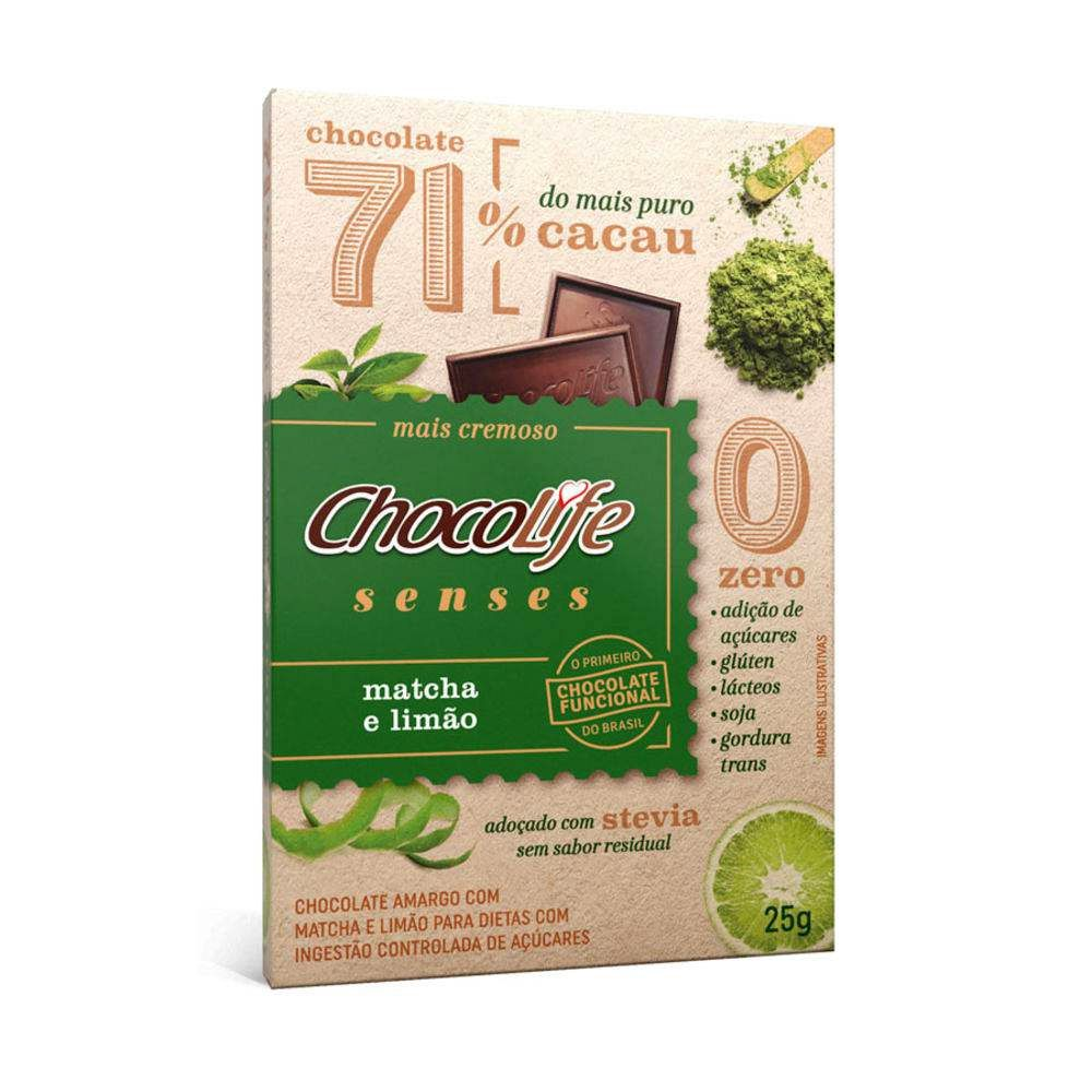Chocolate com Matchá e Limão 71% Cacau Chocolife Senses 25g  - Tudo Low Carb