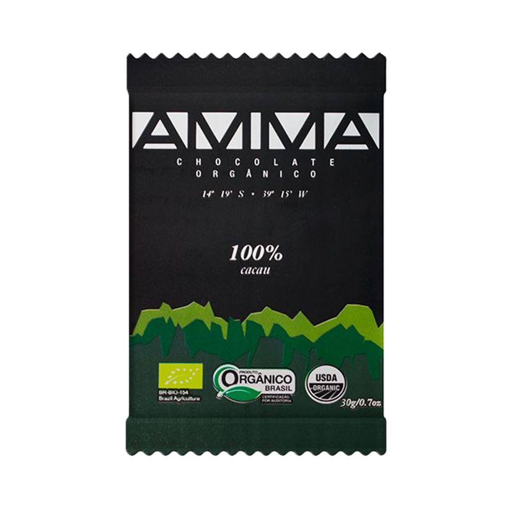 Chocolate Orgânico Amma 100% Cacau 30g  - Tudo Low Carb