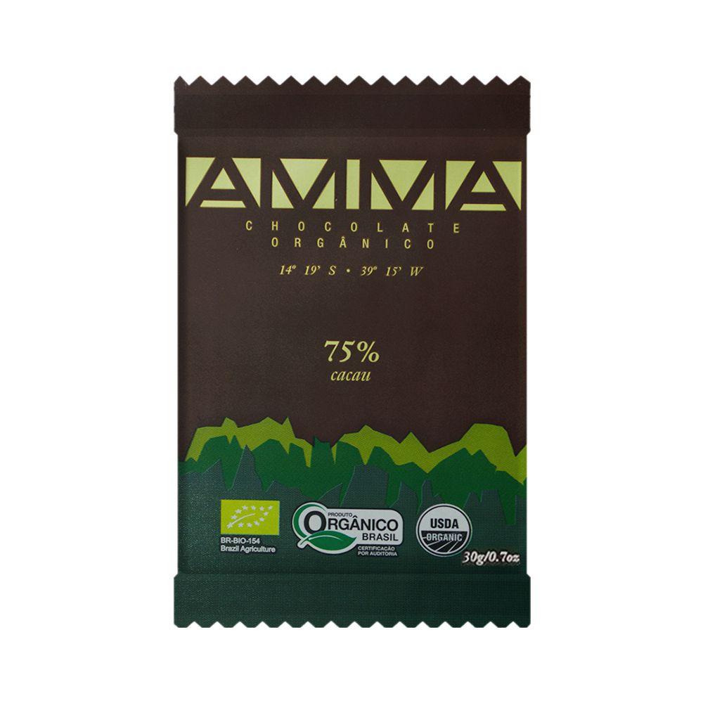 Chocolate Orgânico Amma 75% Cacau 30g  - Tudo Low Carb