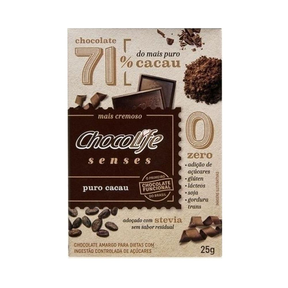 Chocolate Puro Cacau 71% Cacau Chocolife Senses 25g  - Tudo Low Carb