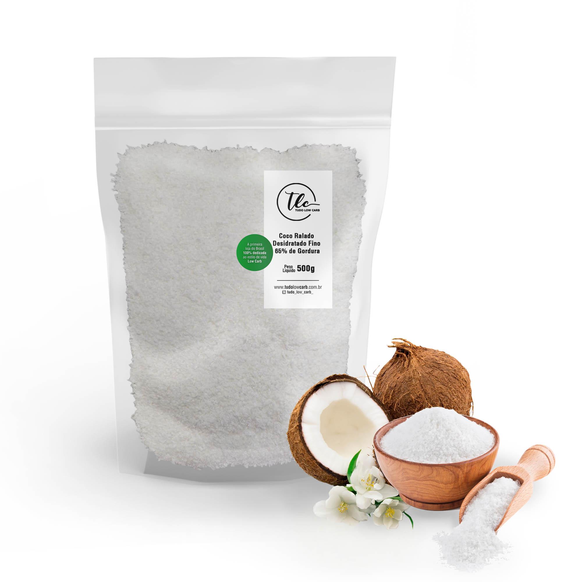Coco Ralado Desidratado Fino 65% Gordura (sem açucar) 500g  - TLC Tudo Low Carb