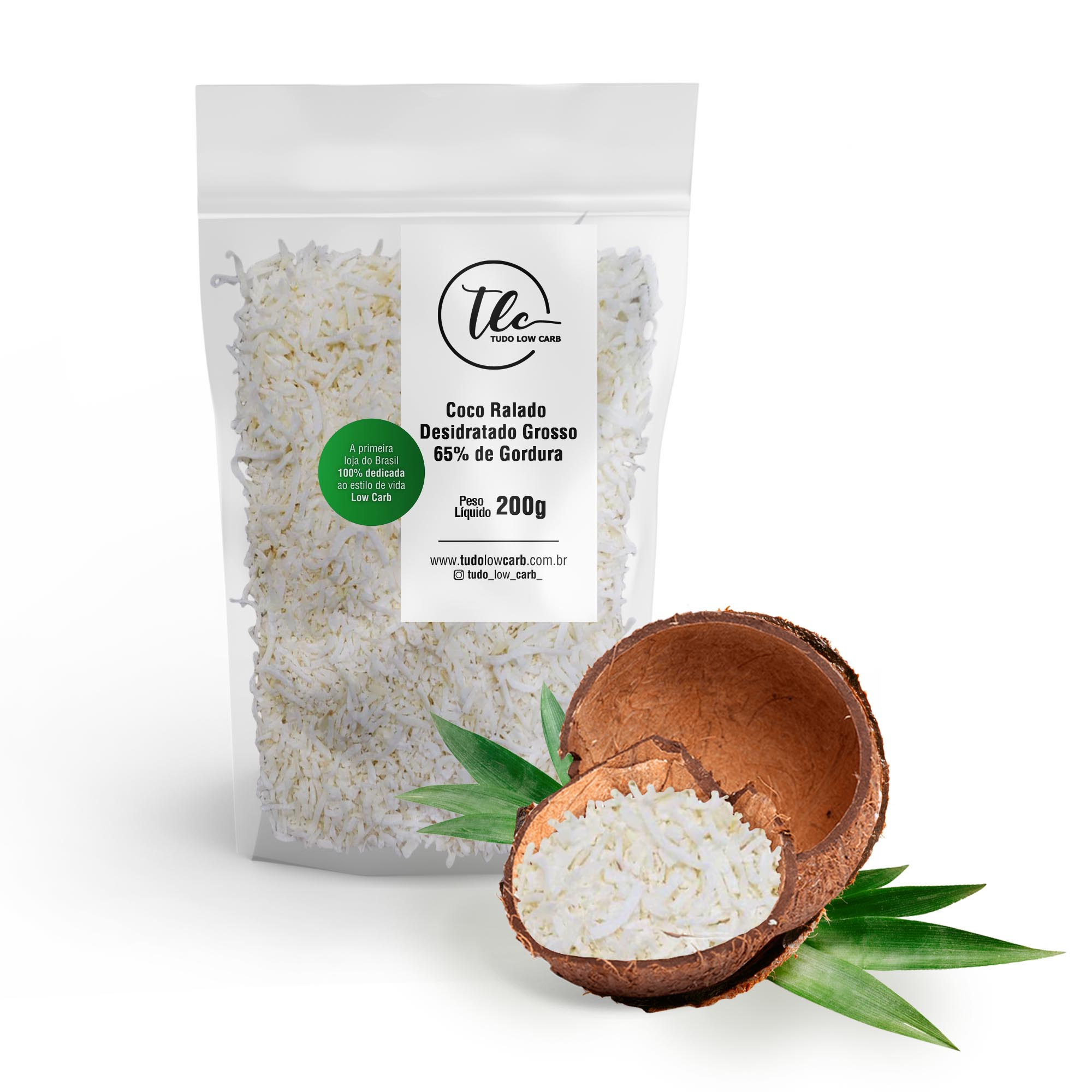 Coco Ralado Desidratado Grosso 65% Gordura (sem açucar) 200g  - TLC Tudo Low Carb