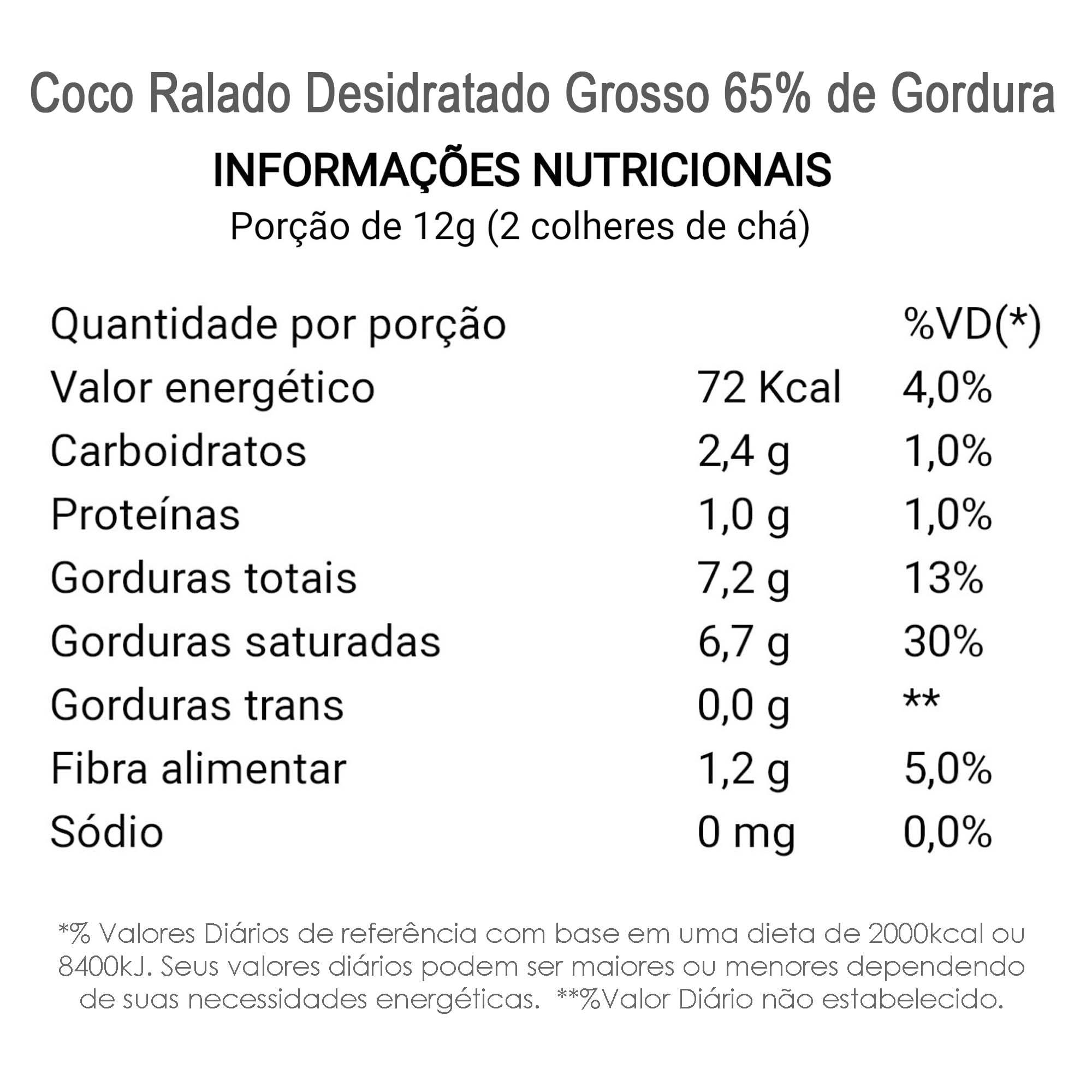 Coco Ralado Desidratado Grosso 65% Gordura (sem açucar)  - TLC Tudo Low Carb