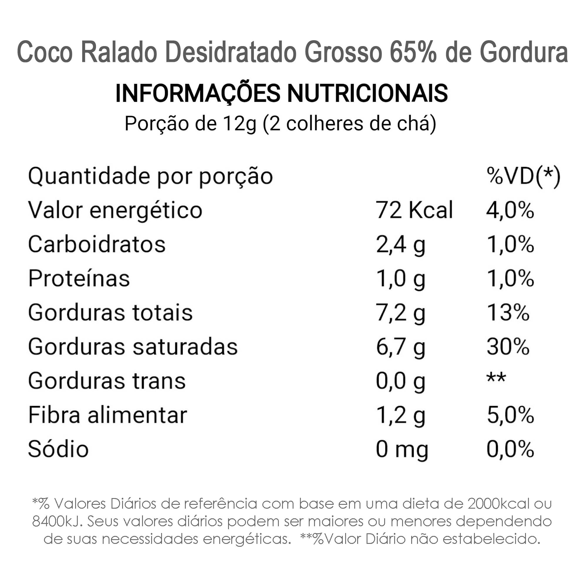 Coco Ralado Desidratado Grosso 65% Gordura (sem açucar) 500g  - TLC Tudo Low Carb