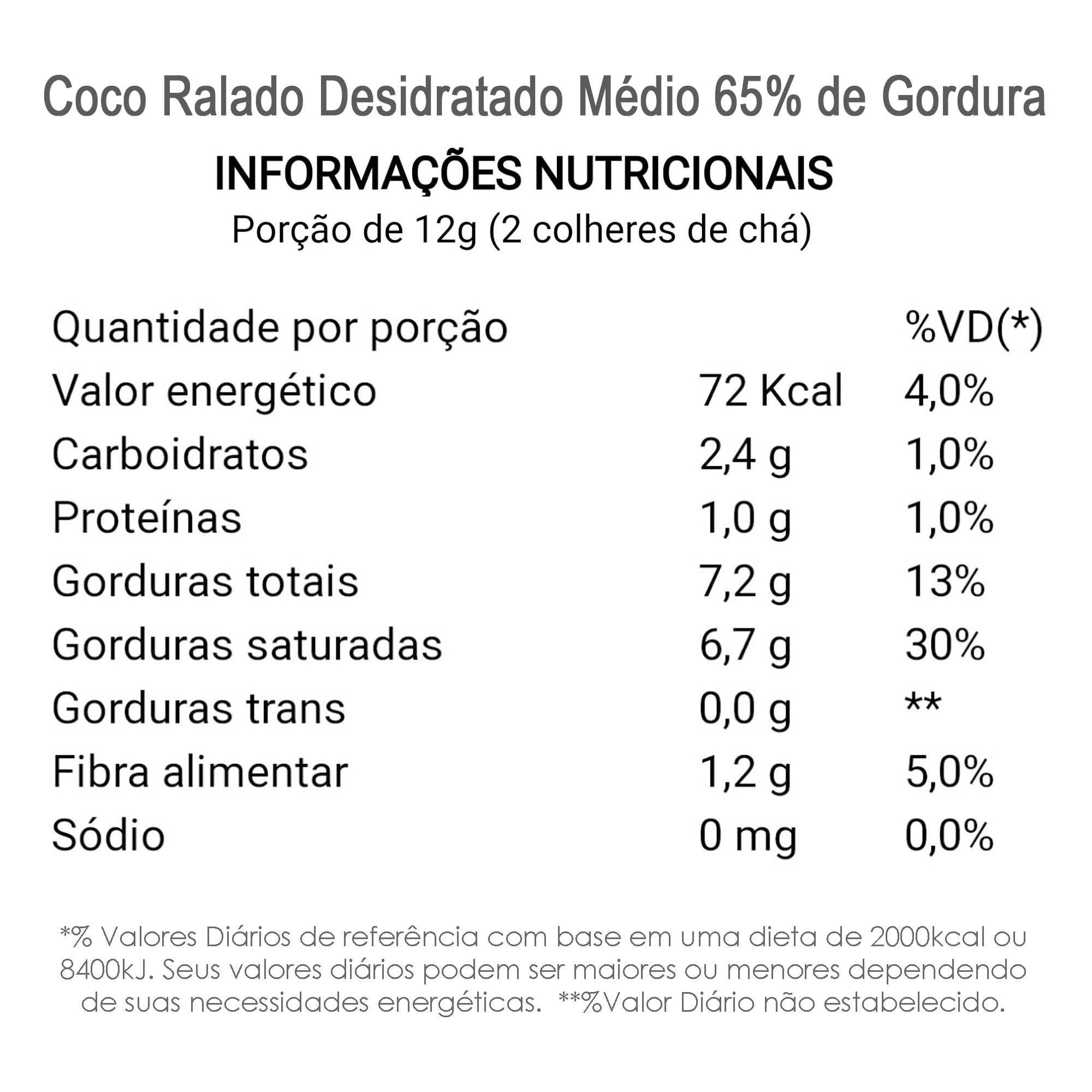 Coco Ralado Desidratado Médio 65% Gordura (sem açucar) 200g  - TLC Tudo Low Carb