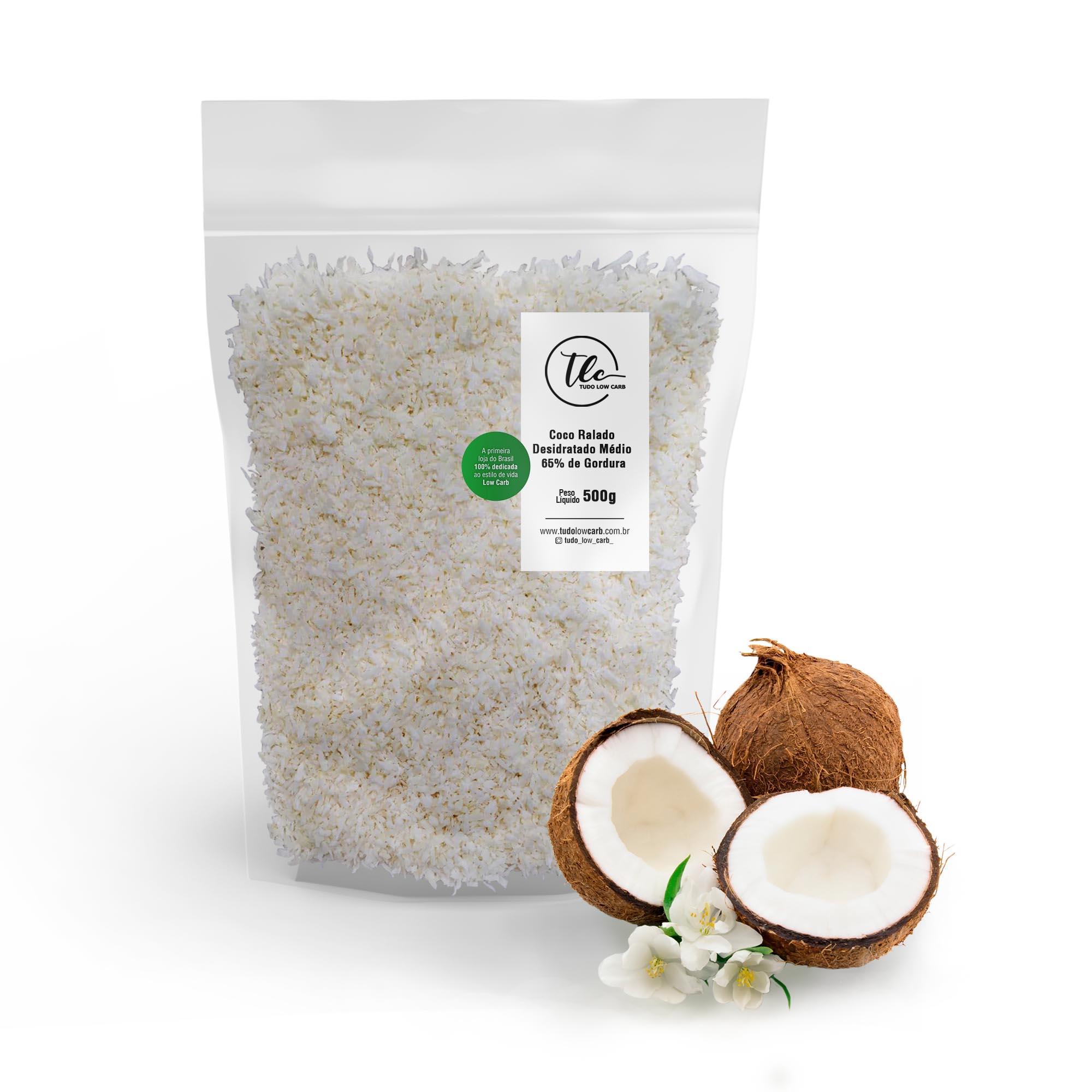 Coco Ralado Desidratado Médio 65% Gordura (sem açucar) 500g  - TLC Tudo Low Carb