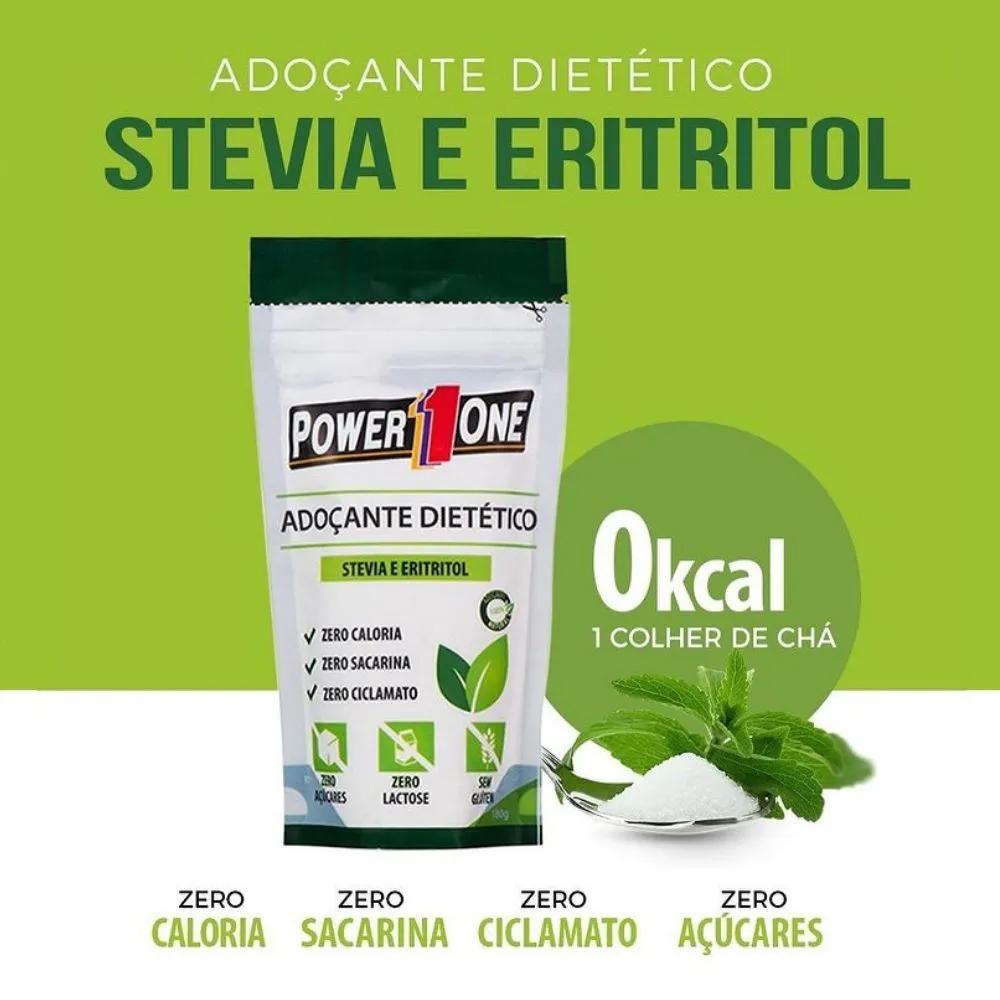 Combo Adoçante Stevia e Eritritol Power One 180g (3 unidades)  - Tudo Low Carb