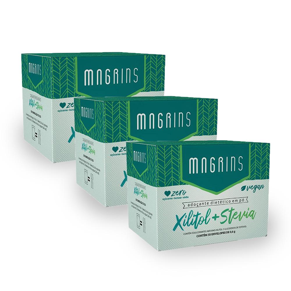 Combo Adoçante Xilitol + Stevia 50 Envelopes Magrins (3 unidades)  - TLC Tudo Low Carb