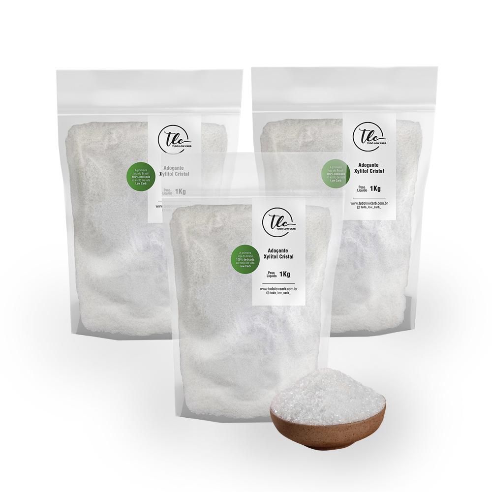 Combo Adoçante Xylitol (Xilitol) Cristal 3 kg  - TLC Tudo Low Carb