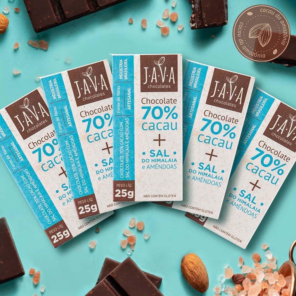 Combo Chocolate 70% Cacau com Sal do Himalaia e Amêndoas Java (3 unidades 80g cada)  - Tudo Low Carb