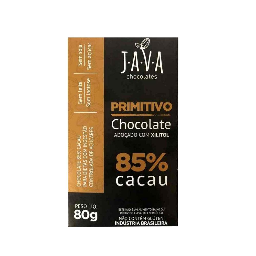 Combo Chocolate 85% Cacau com Xylitol Primitivo Java (3 unidades 80g cada)  - Tudo Low Carb