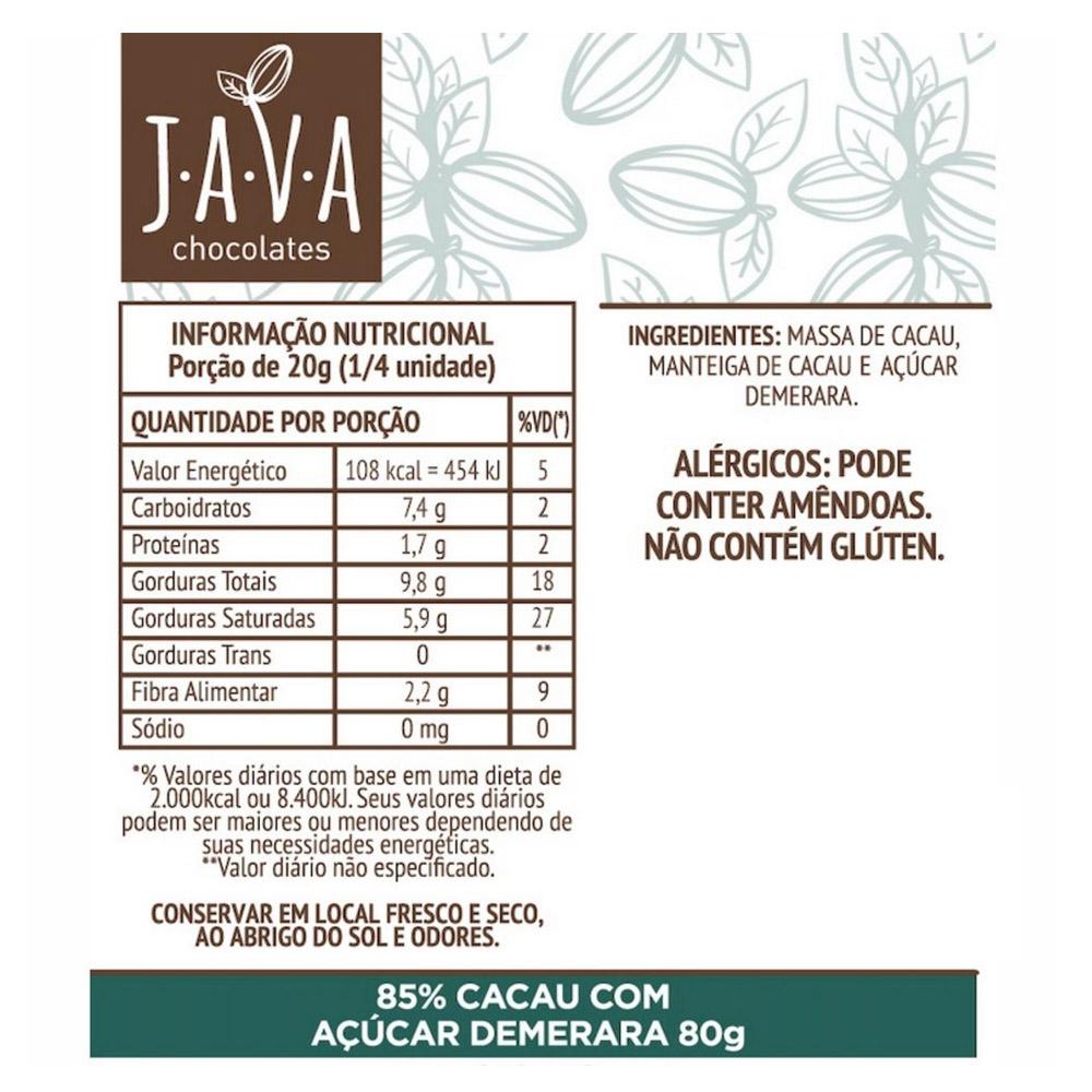 Combo Chocolate 85% Cacau Complexo Java (3 unidades 80g cada)  - TLC Tudo Low Carb