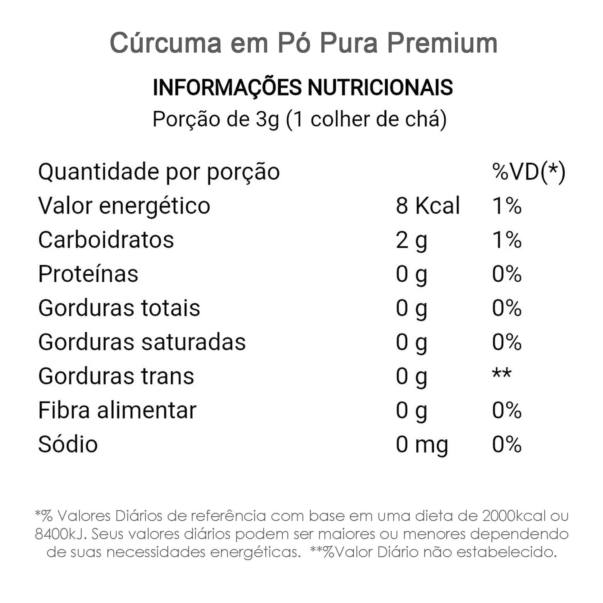 Cúrcuma em Pó Pura Premium 100g  - TLC Tudo Low Carb