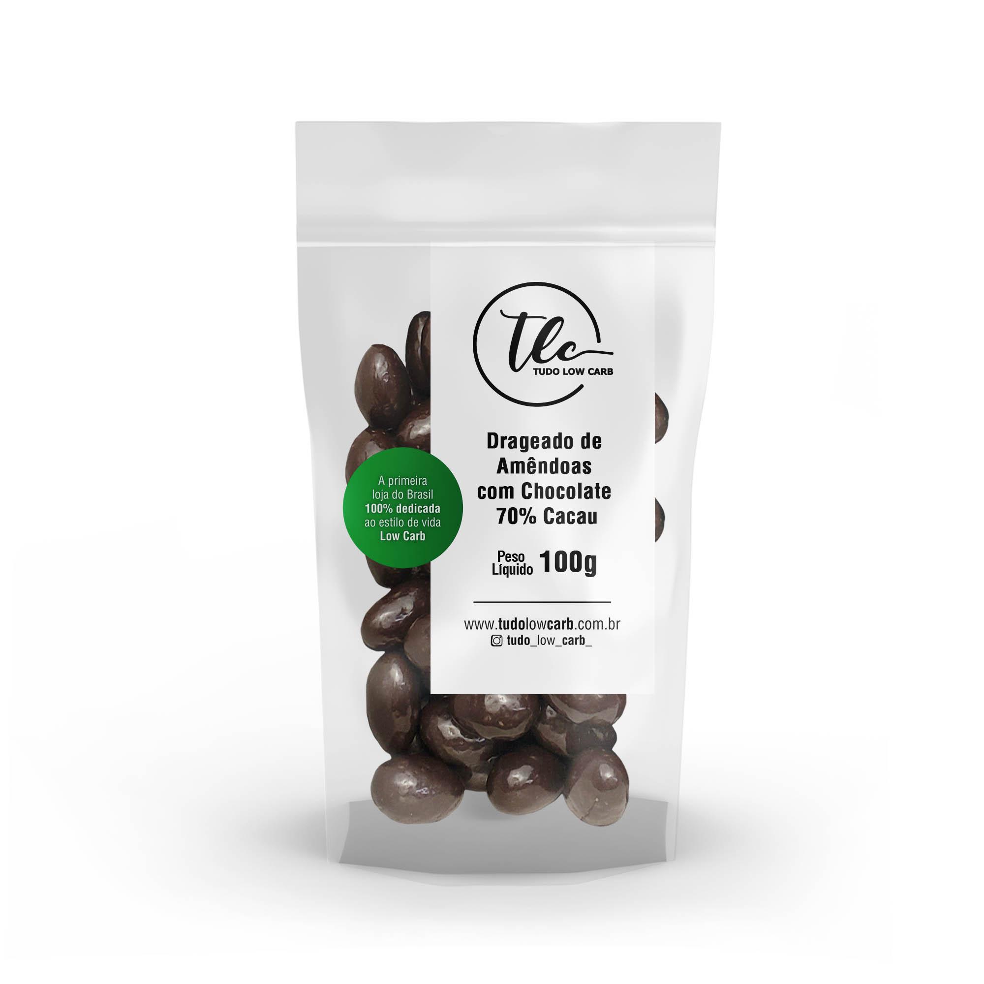 Drageado Amêndoas com Chocolate 70% Cacau 100g  - TLC Tudo Low Carb