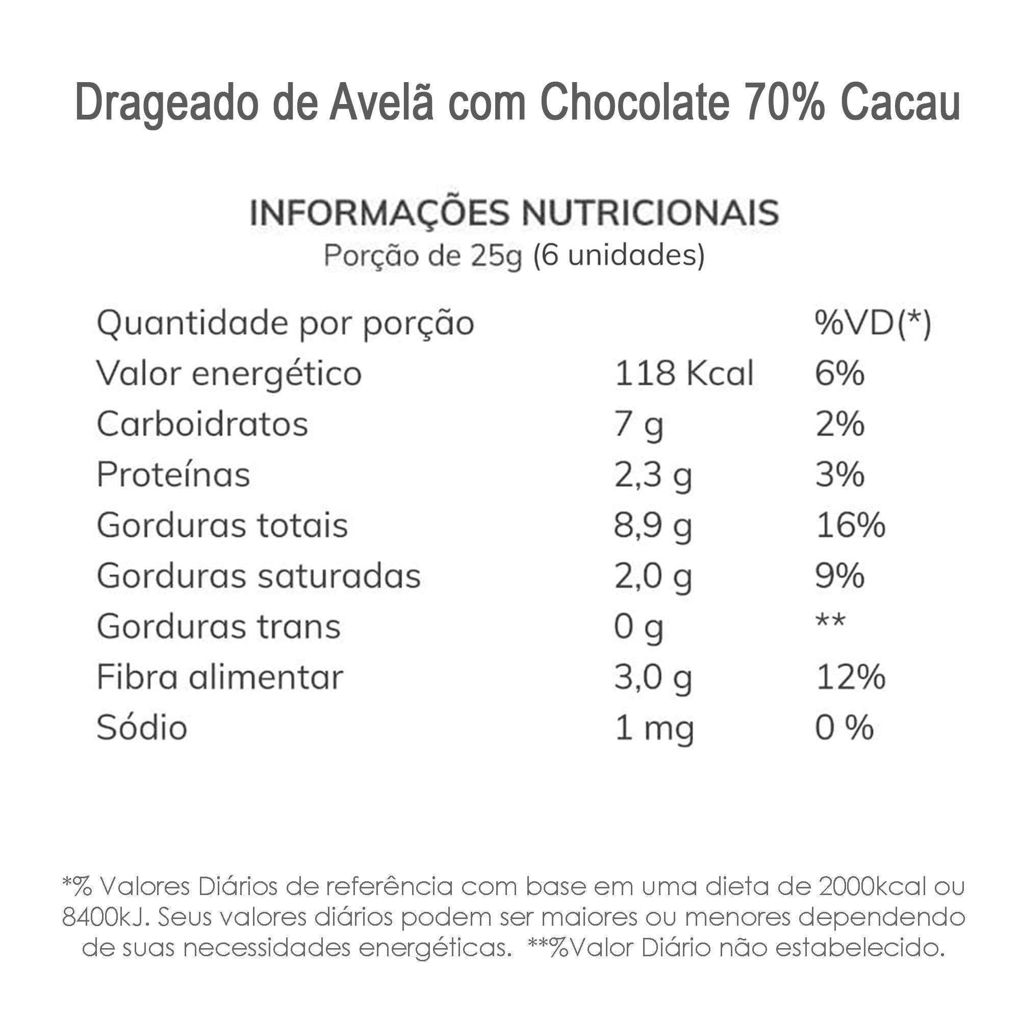 Drageado Avelã com Chocolate 70% Cacau 100g  - TLC Tudo Low Carb