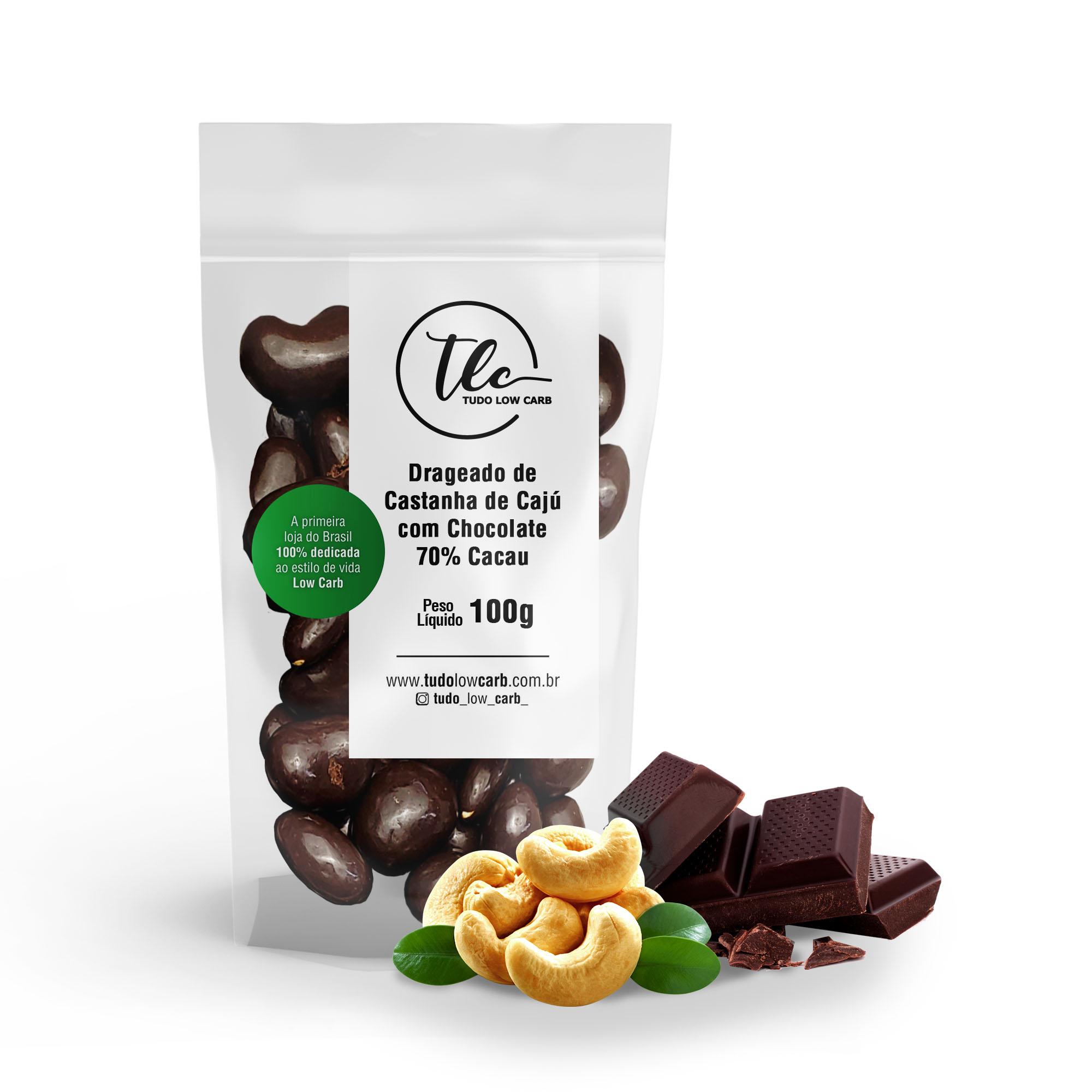 Drageado Castanha de Cajú com Chocolate 70% Cacau 100g  - TLC Tudo Low Carb
