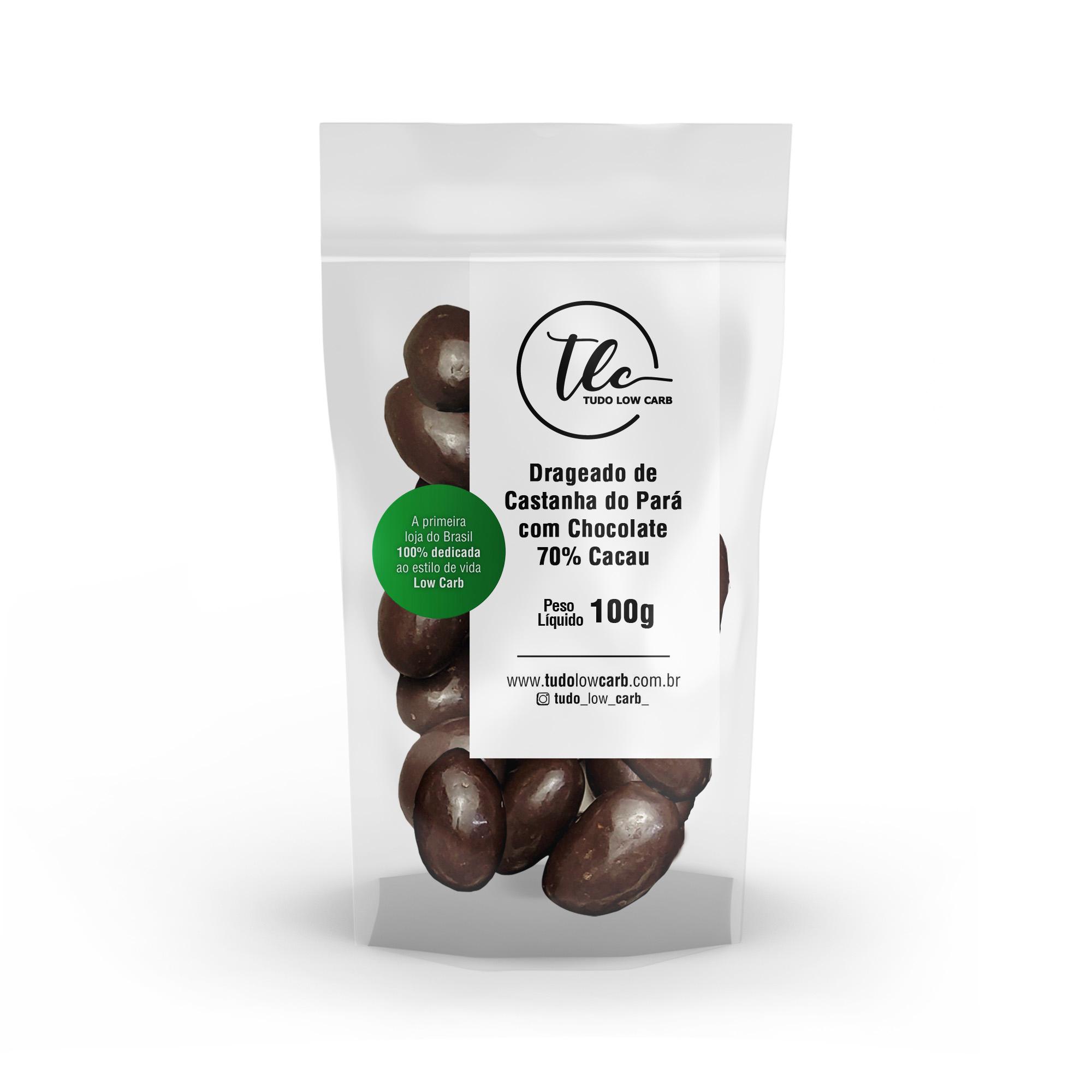 Drageado Castanha do Pará com Chocolate 70% Cacau 100g  - TLC Tudo Low Carb