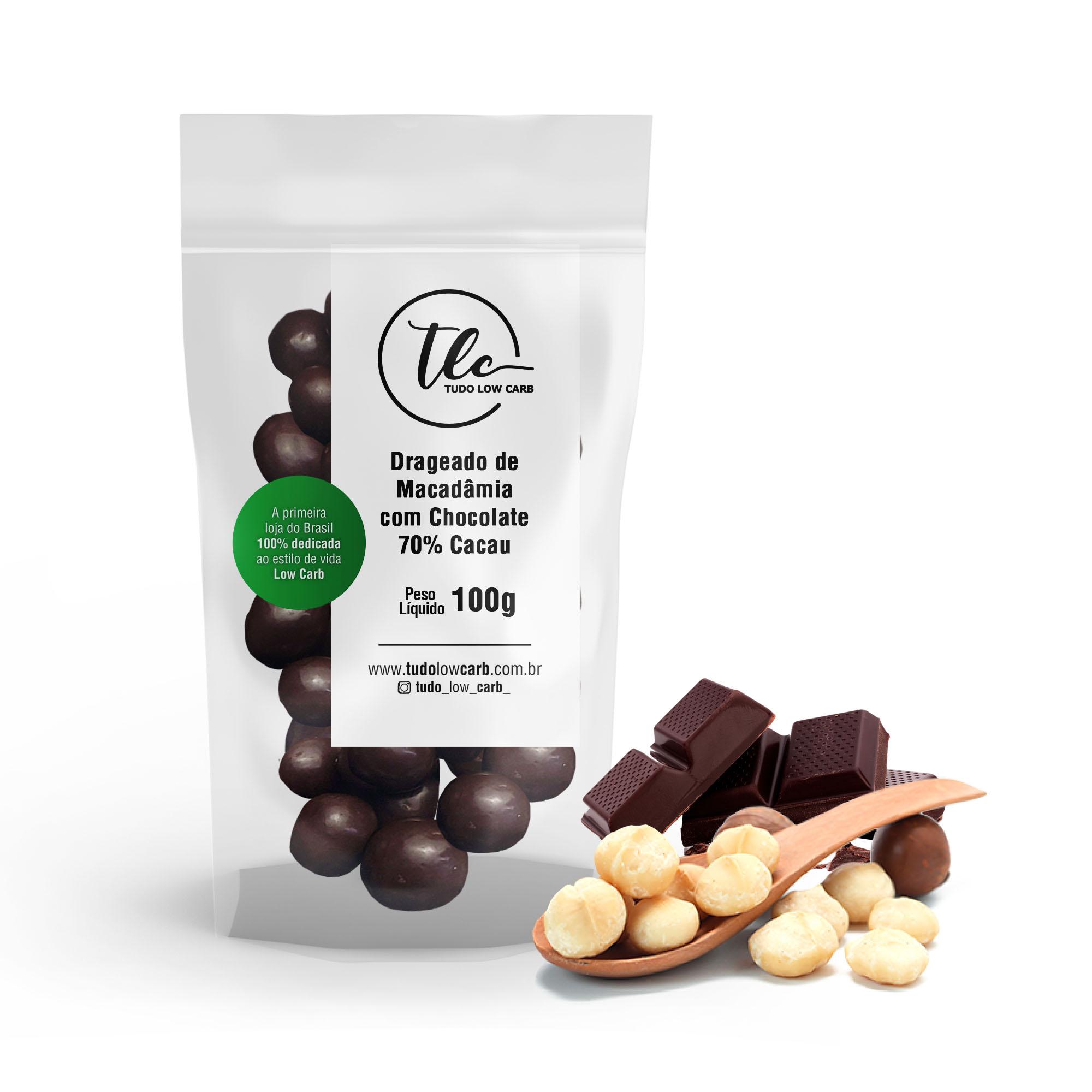 Drageado Macadâmia com Chocolate 70% Cacau 100g  - TLC Tudo Low Carb