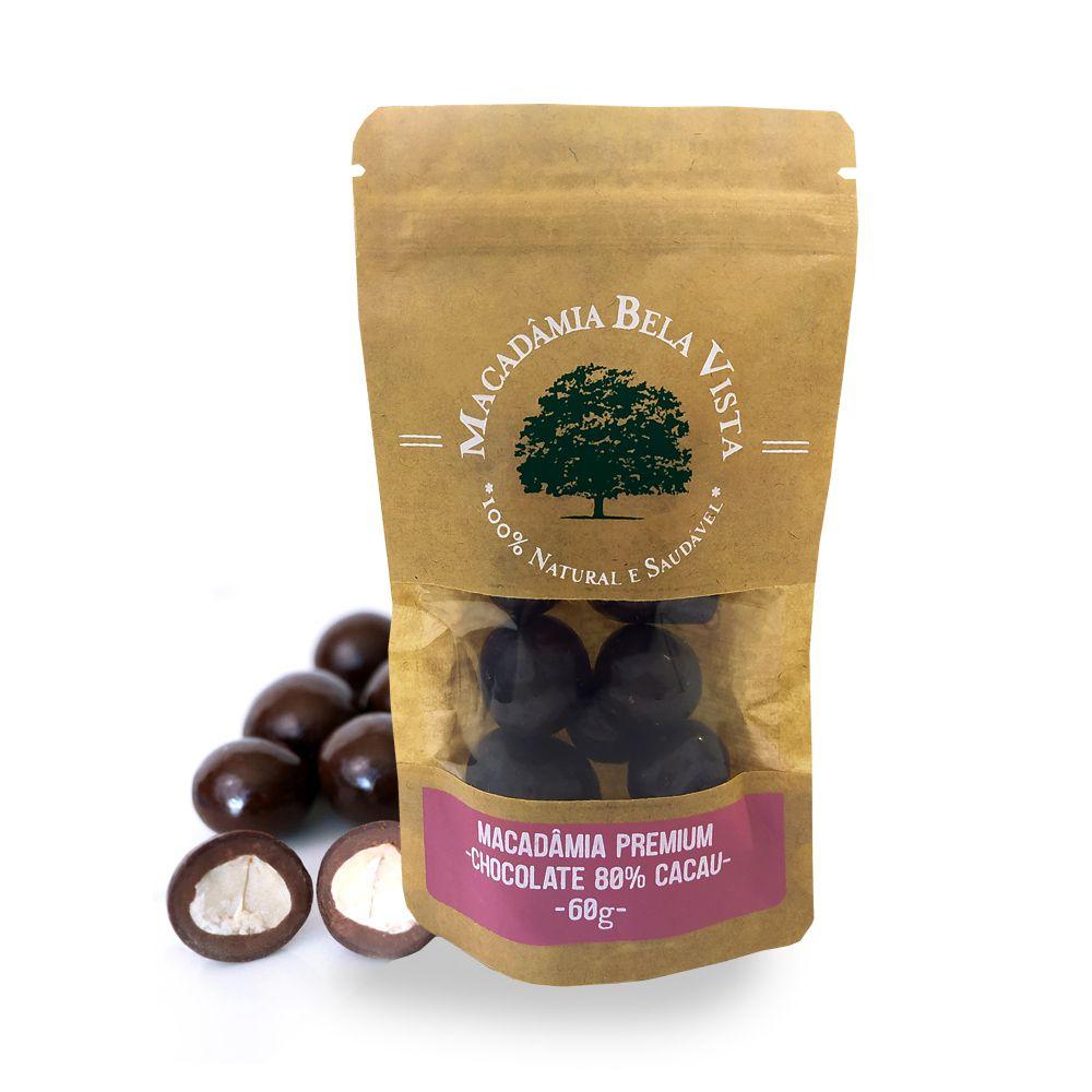 Drageado Macadâmia com Chocolate 80% Cacau Bela Vista 60g  - Tudo Low Carb