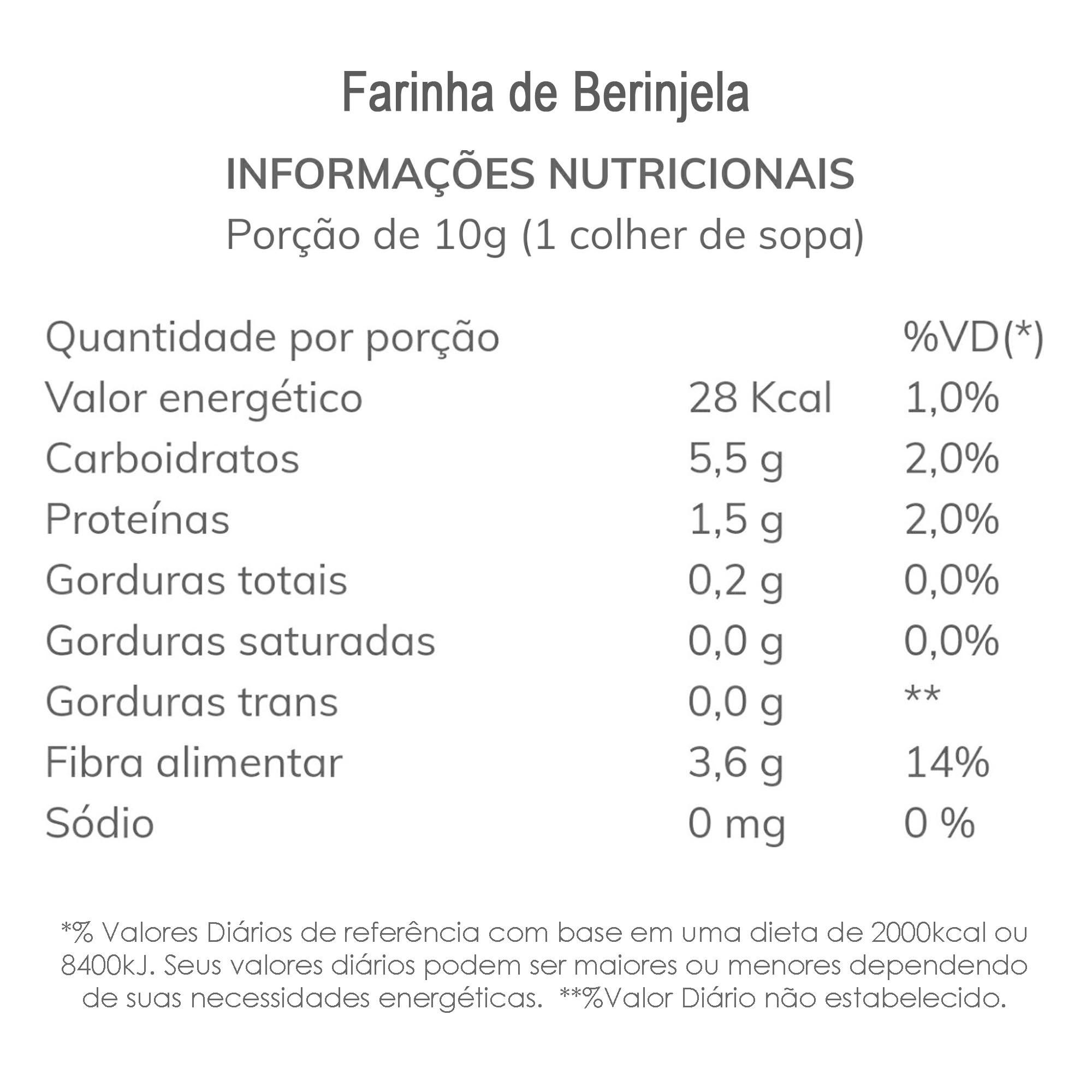 Farinha de Berinjela Integral 250g  - TLC Tudo Low Carb